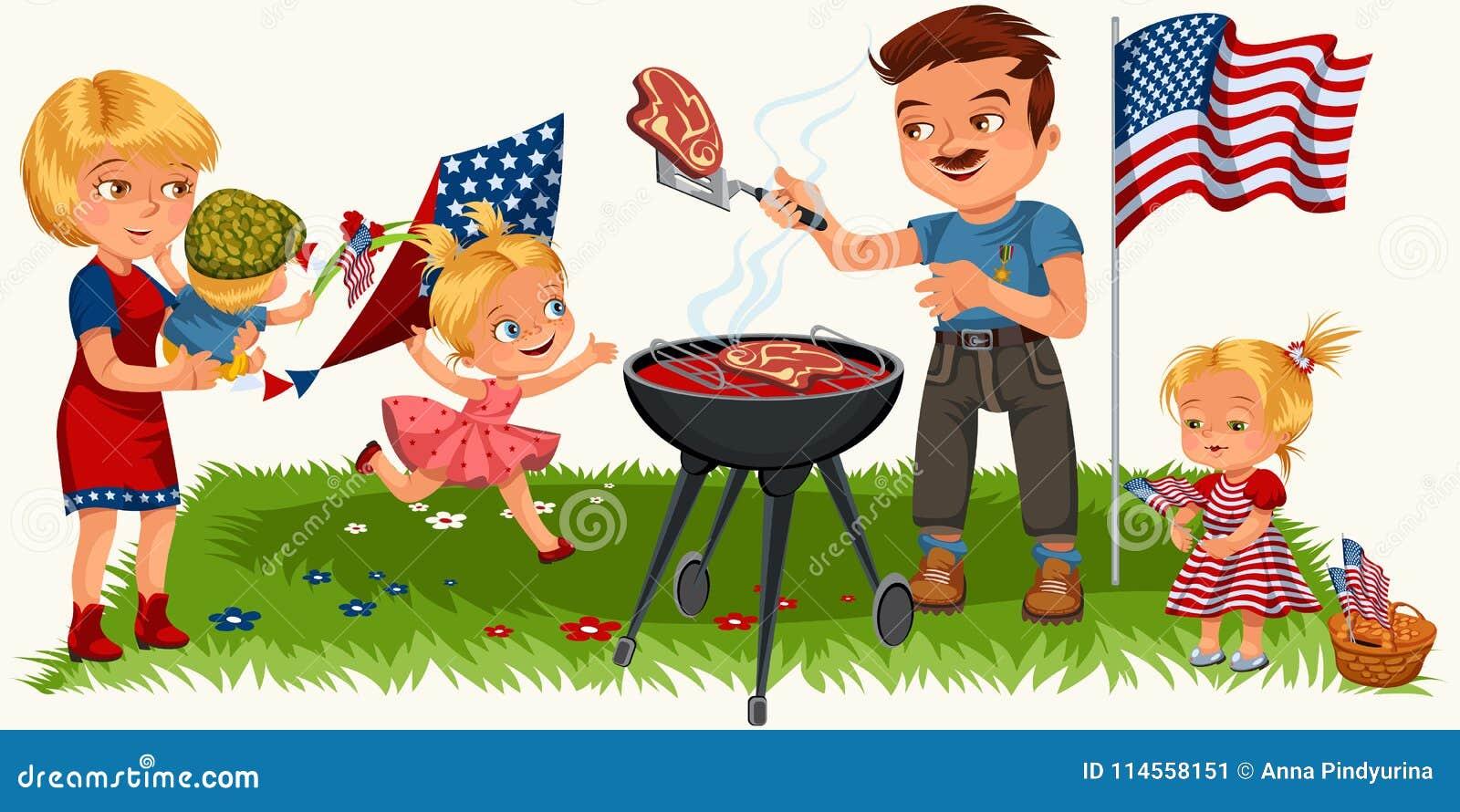 De familie in park rusten of tuin, papa die vlees bij de grill de roosteren, mum holdingsbaby, meisjes speelt op groen gras met v