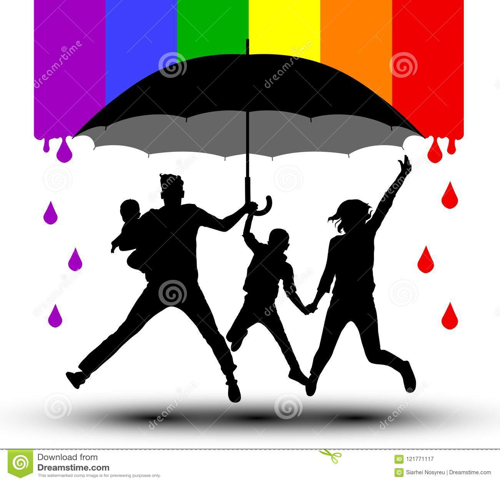 De familie wordt beschermd door een paraplu, silhouet Propaganda, LGBT-vlag