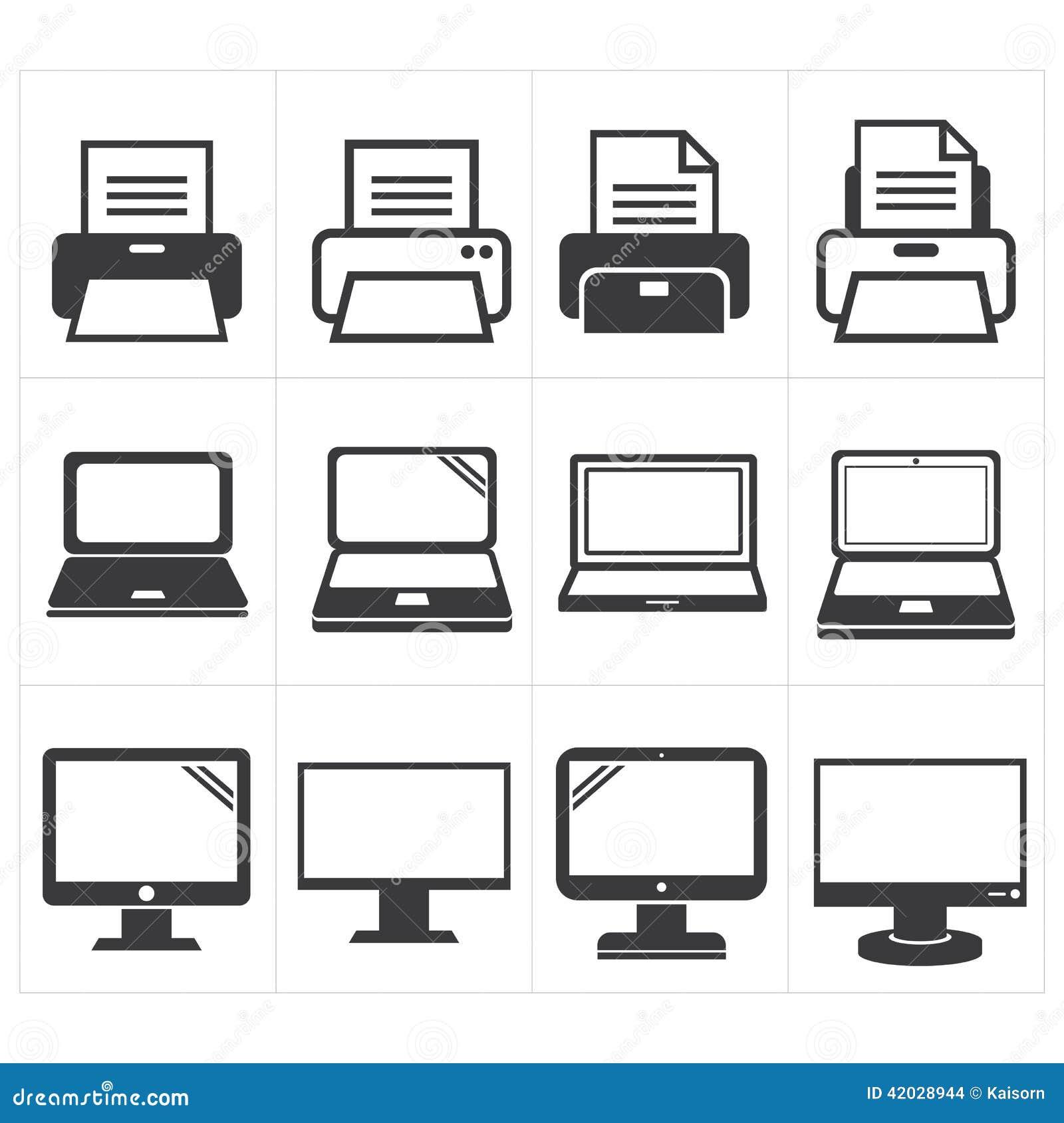 De Fax van pictogramkantoorbenodigdheden, laptop, printer