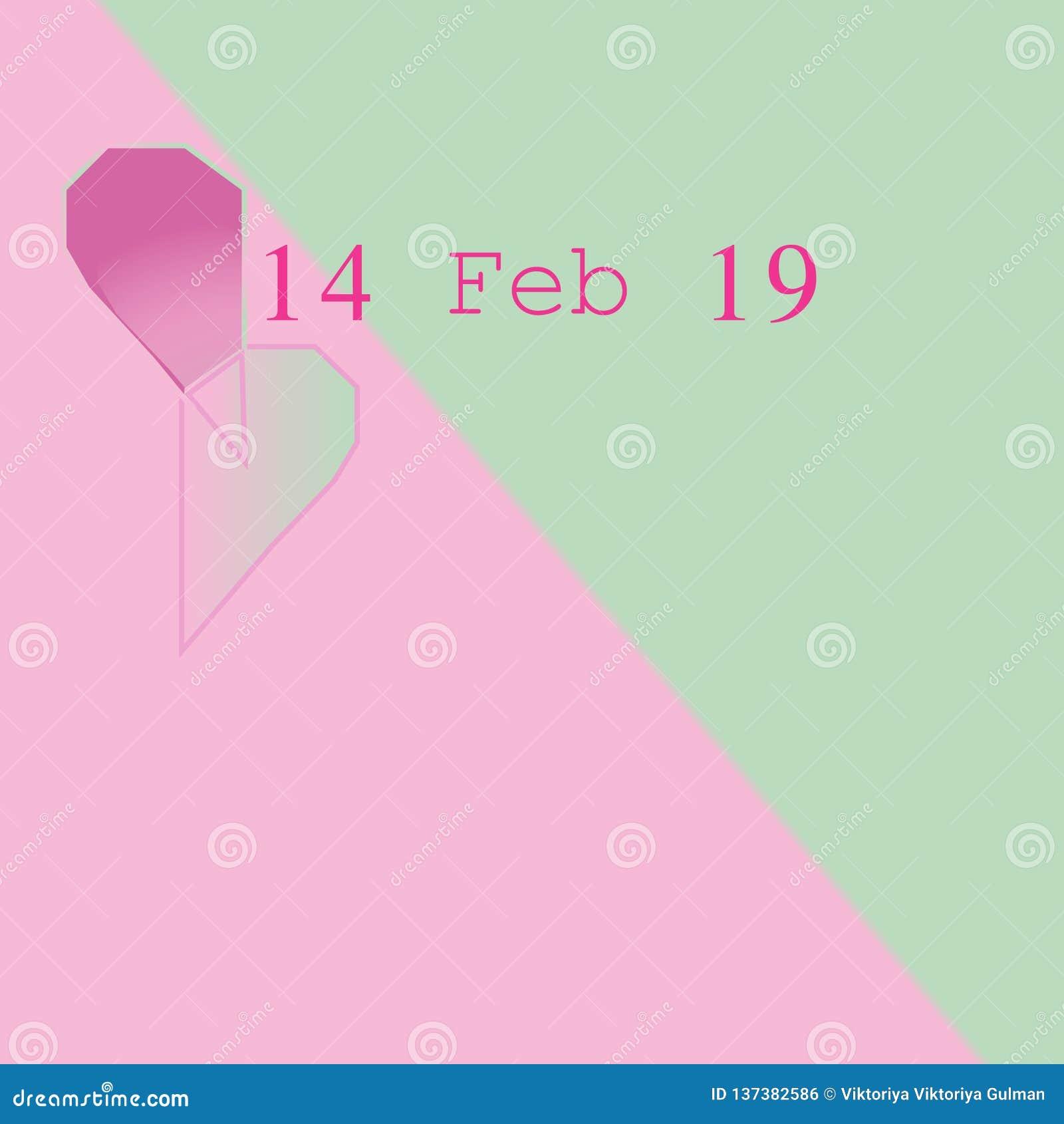 14 de febrero de 19 en fondo bicolor en colores pastel