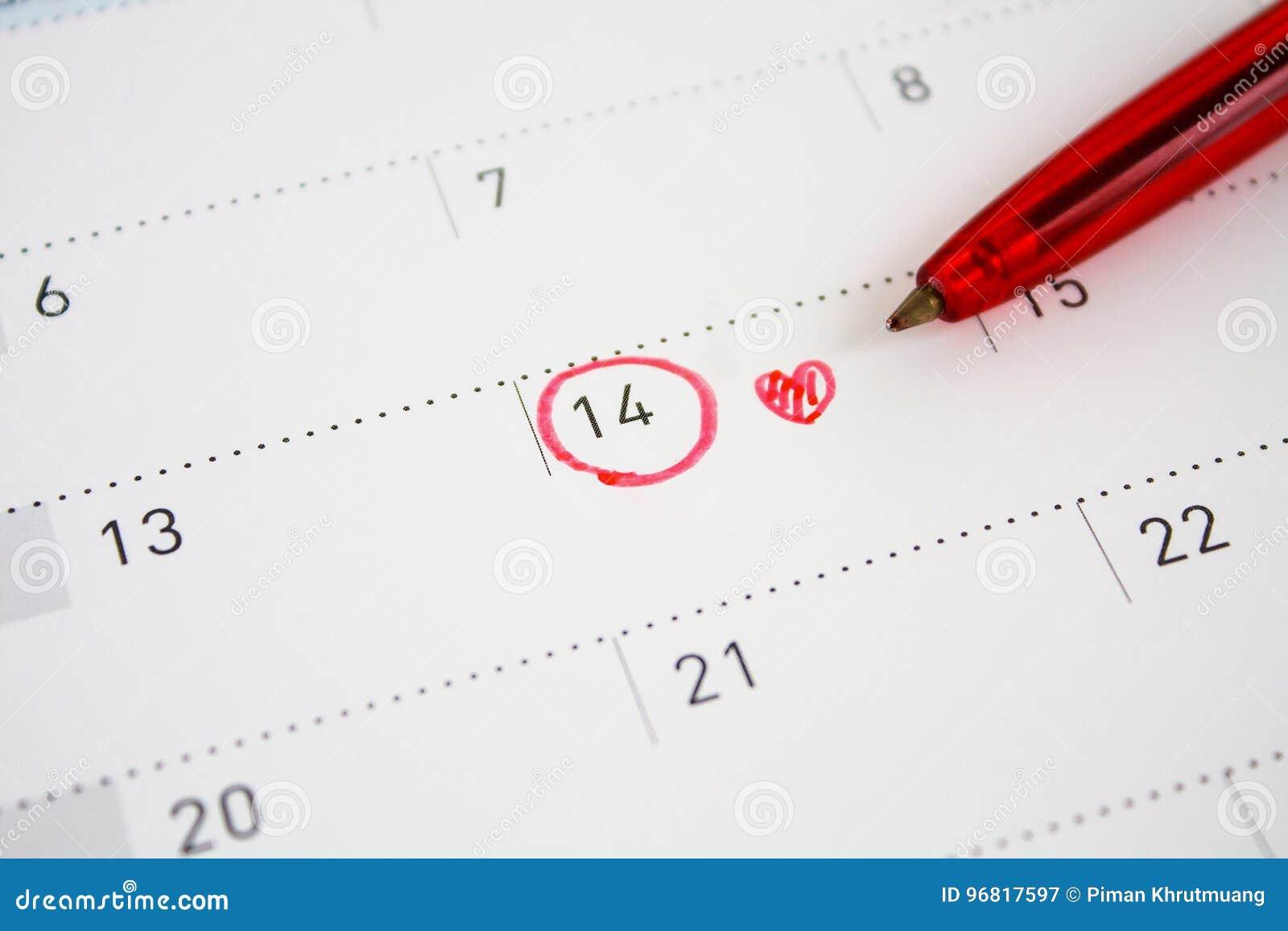 Marca Calendario.14 De Febrero Marca En El Calendario Imagen De Archivo Imagen De