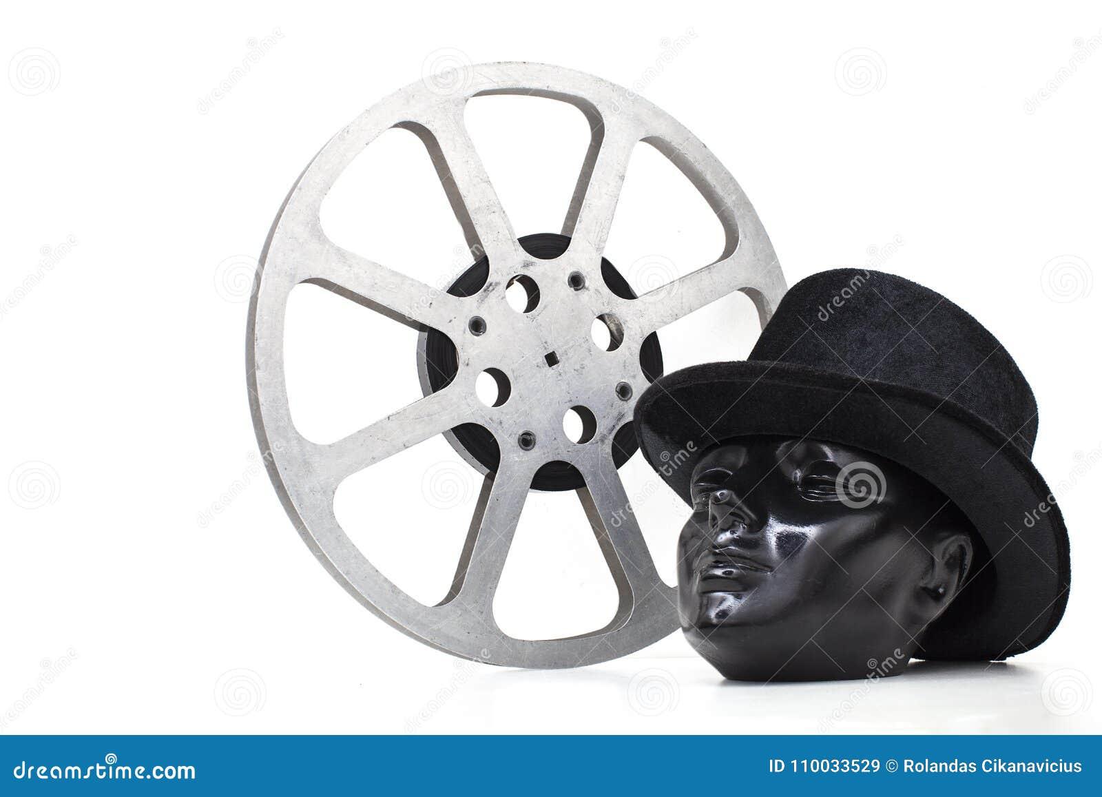 De filmspoel van oude films en het zwarte proefhoofd hadden