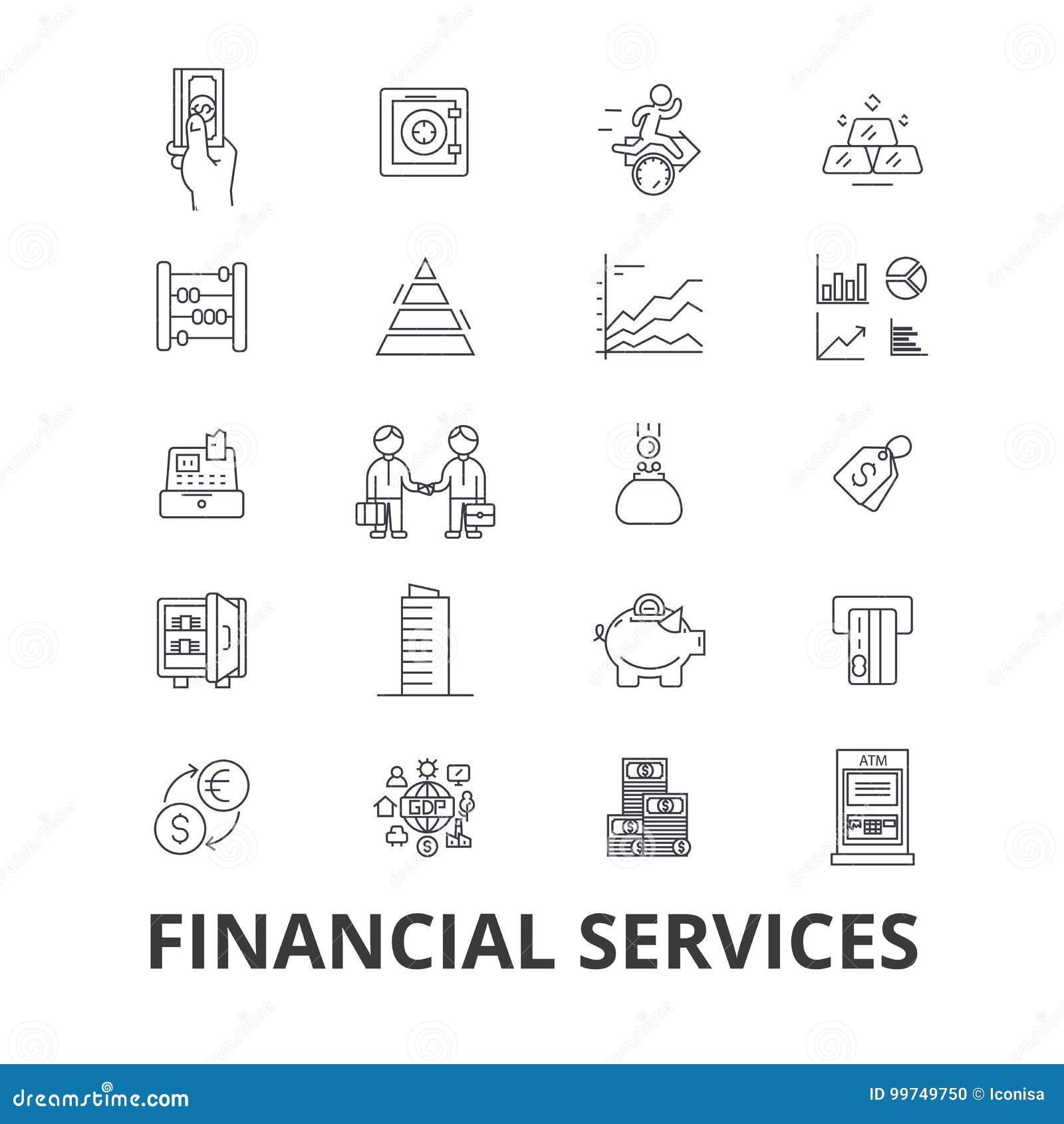 De financiële diensten, verrichtingen, financiën, planning, geld, boekhouding, de pictogrammen van de investeringslijn Editablesl