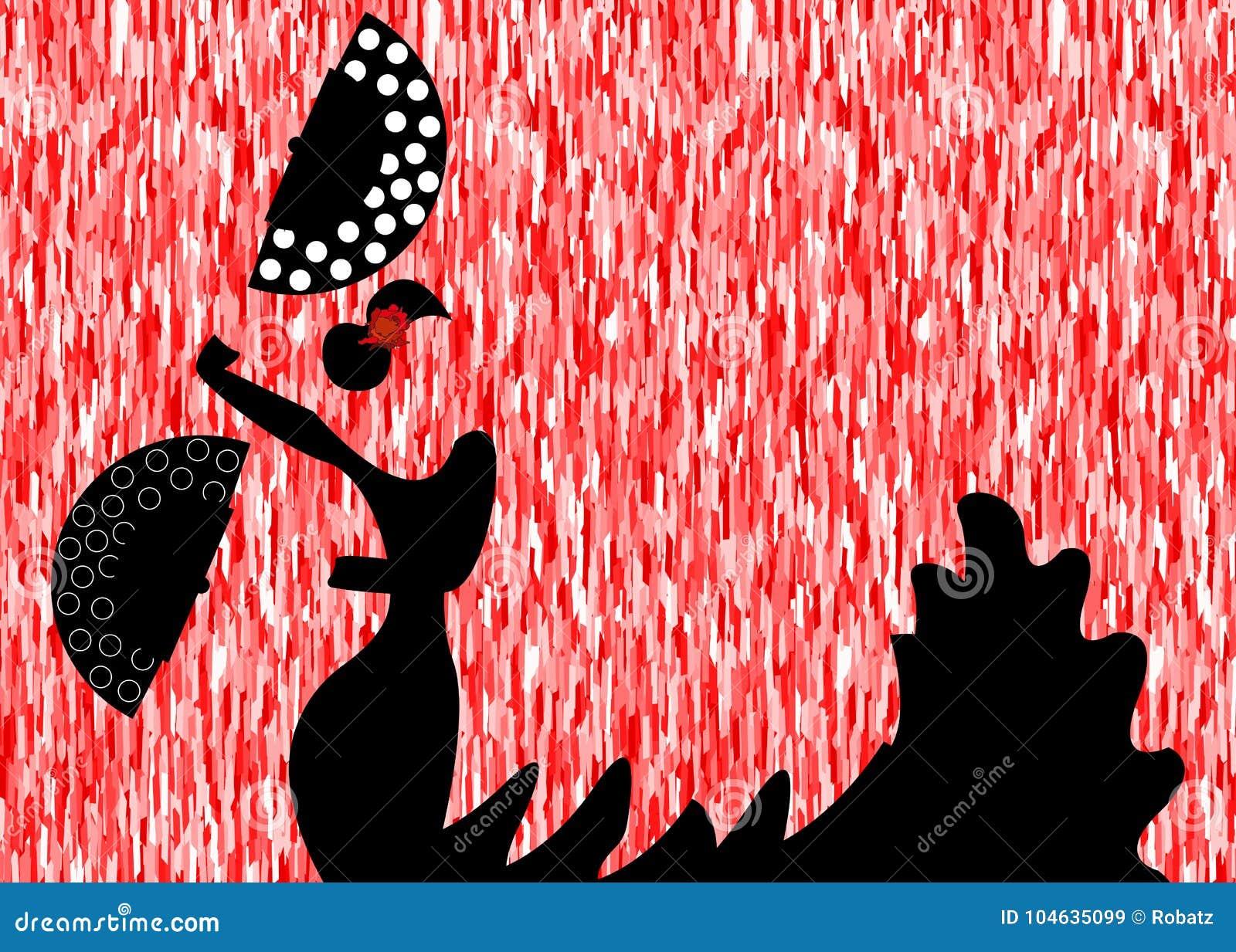 Download De Flamencodanser, Silhouetteert Mooi Spaanse In Lange Kleding Met Ventilator Vector Illustratie - Illustratie bestaande uit modern, groen: 104635099