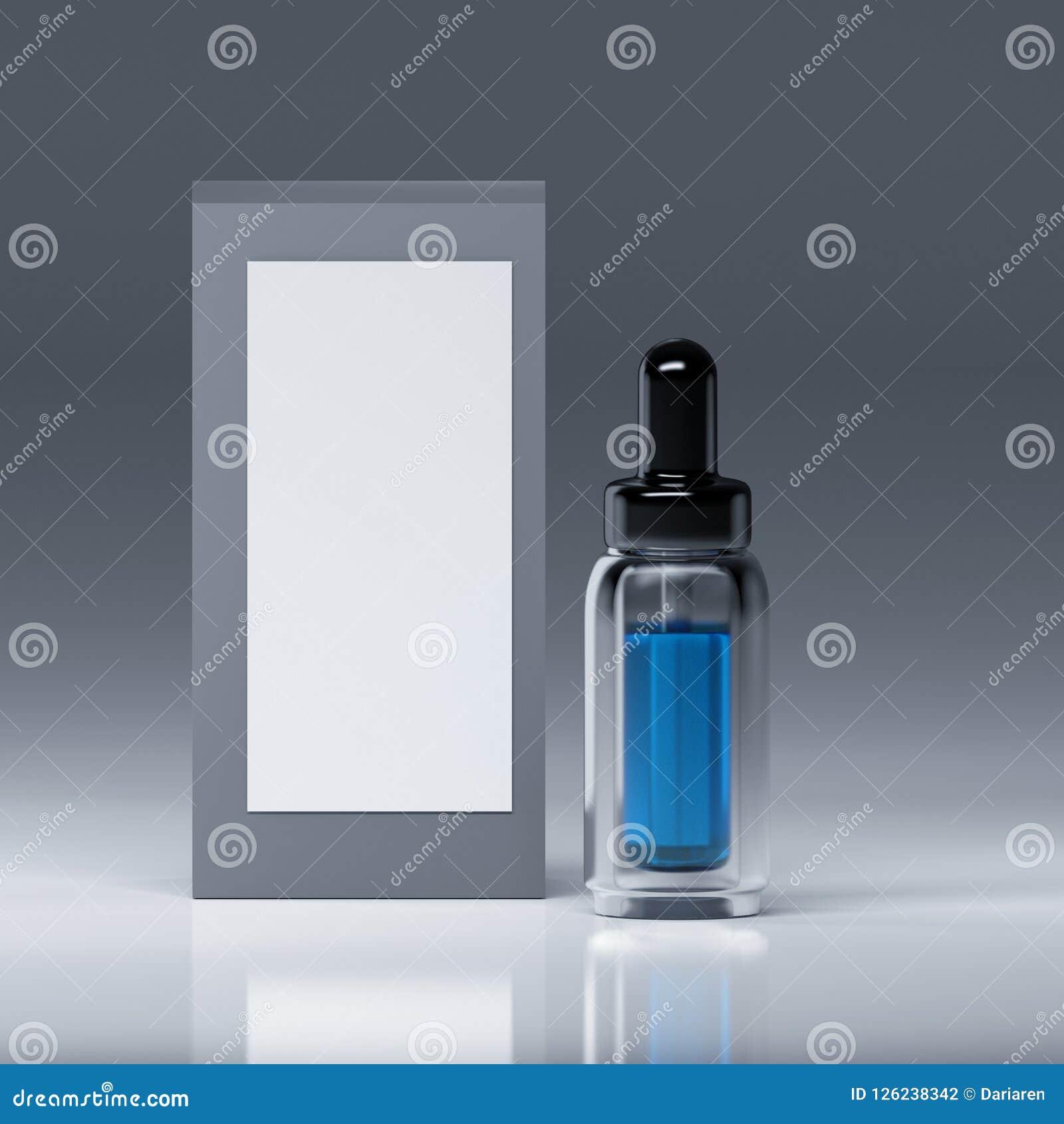 De fles van het serumglas met blauwe vloeistof binnen en met pipet en zwart glanzend GLB