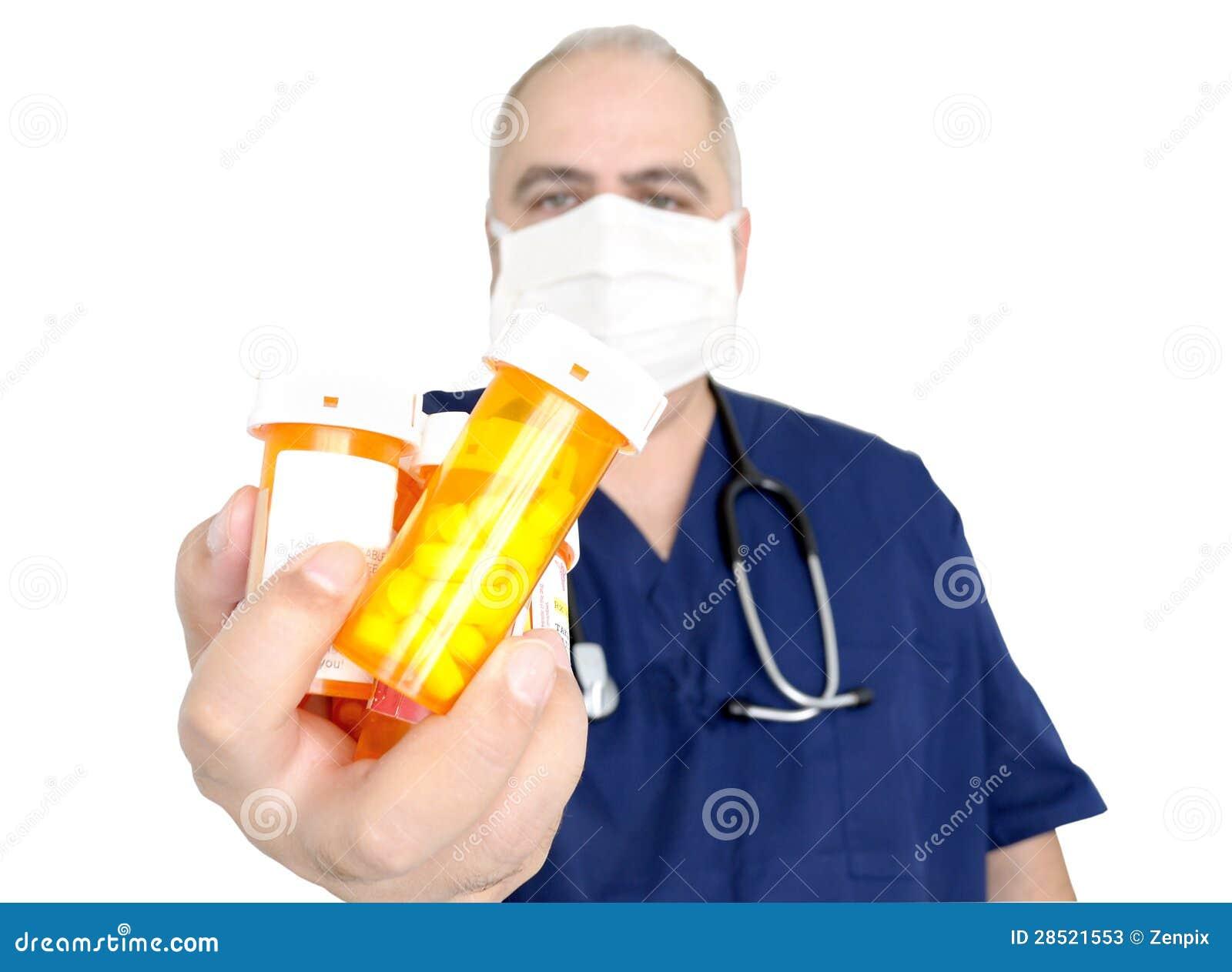 De flessen van de de holdingspil van de arts