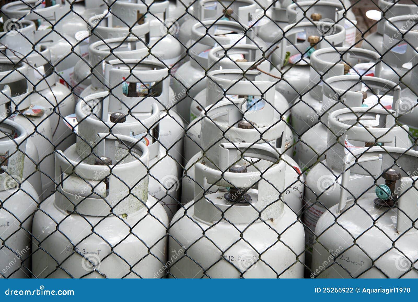 De flessen van het gas