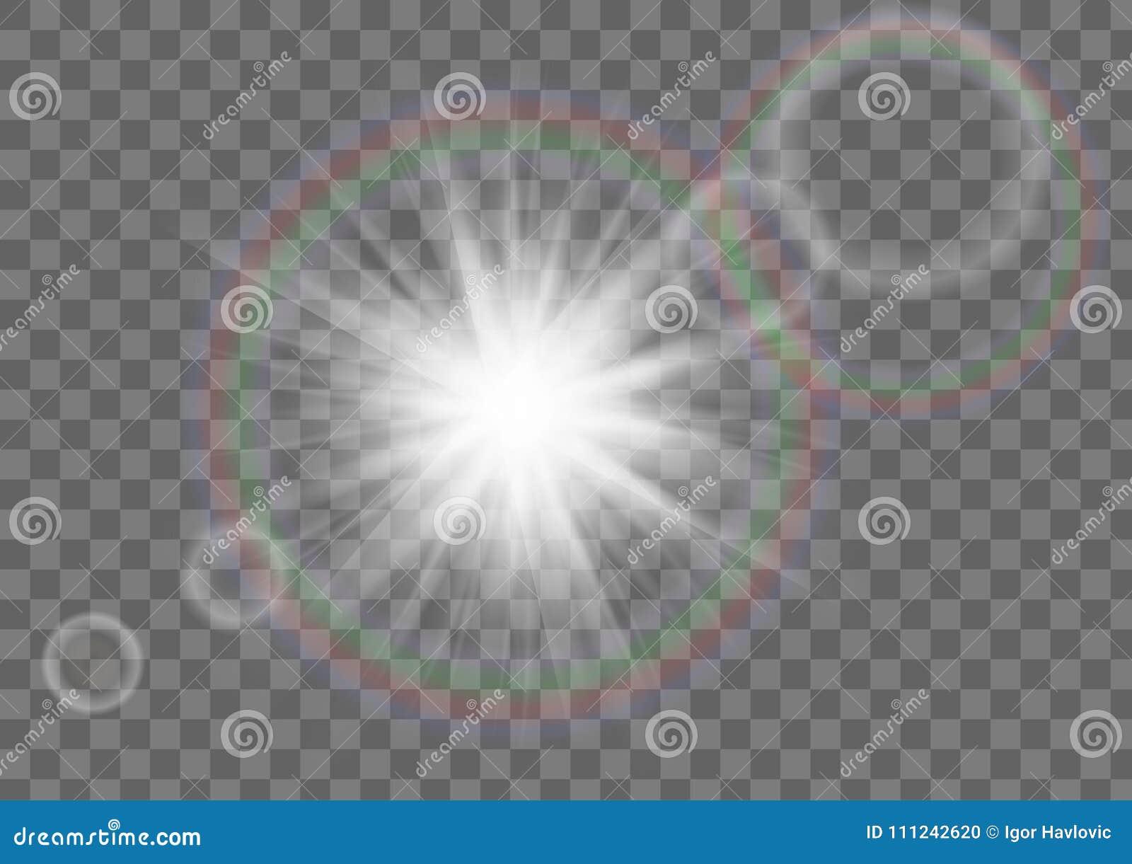 De Fonkeling van de zonster met het Effect van de Lensgloed op Transparante Achtergrond
