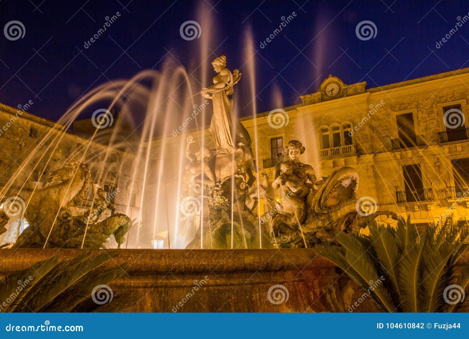 De fontein van Artemide Syracuse Siracusa, Sarausa