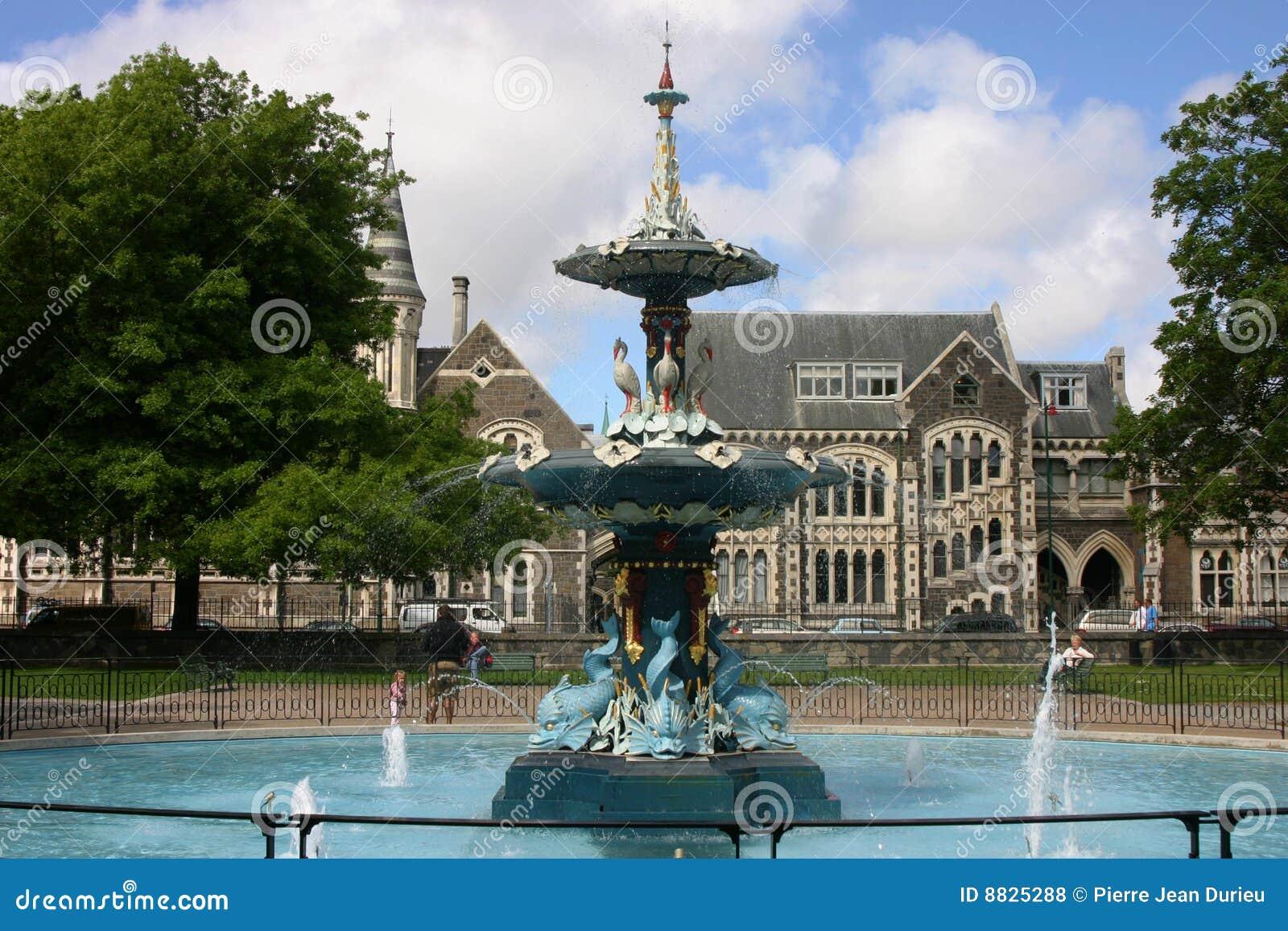 De fontein van Christchurch in Park Hagley