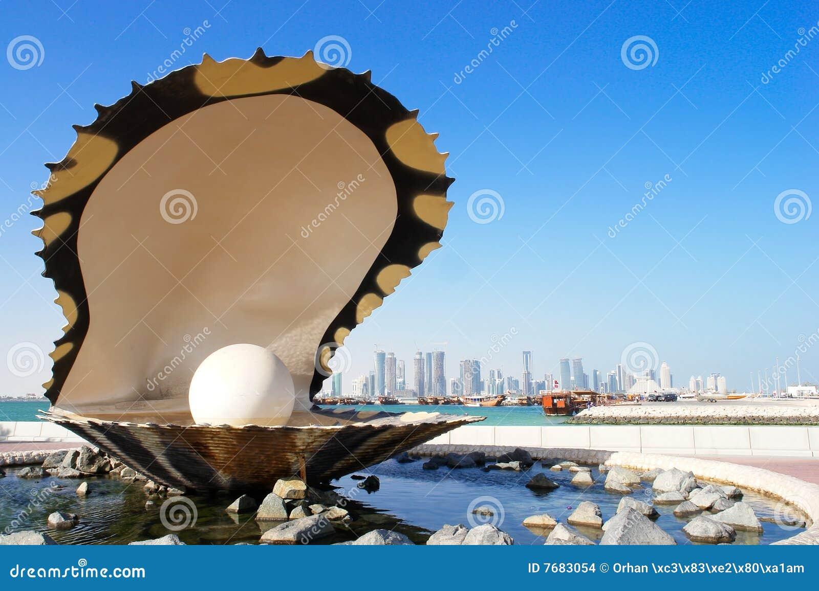 De fontein van de parel en van de oester in corniche - Doha Qatar