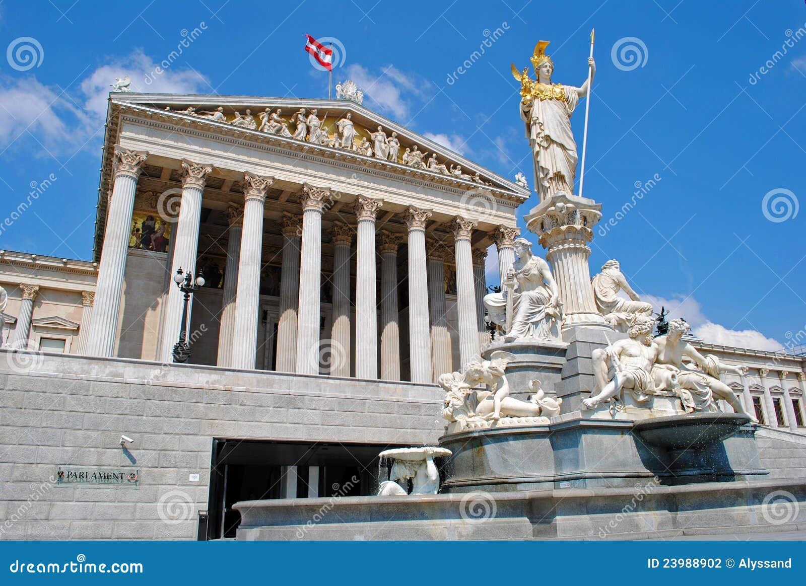 De fontein van het parlement en van athena van wenen stock foto afbeelding 23988902 - Het upgraden van m ...