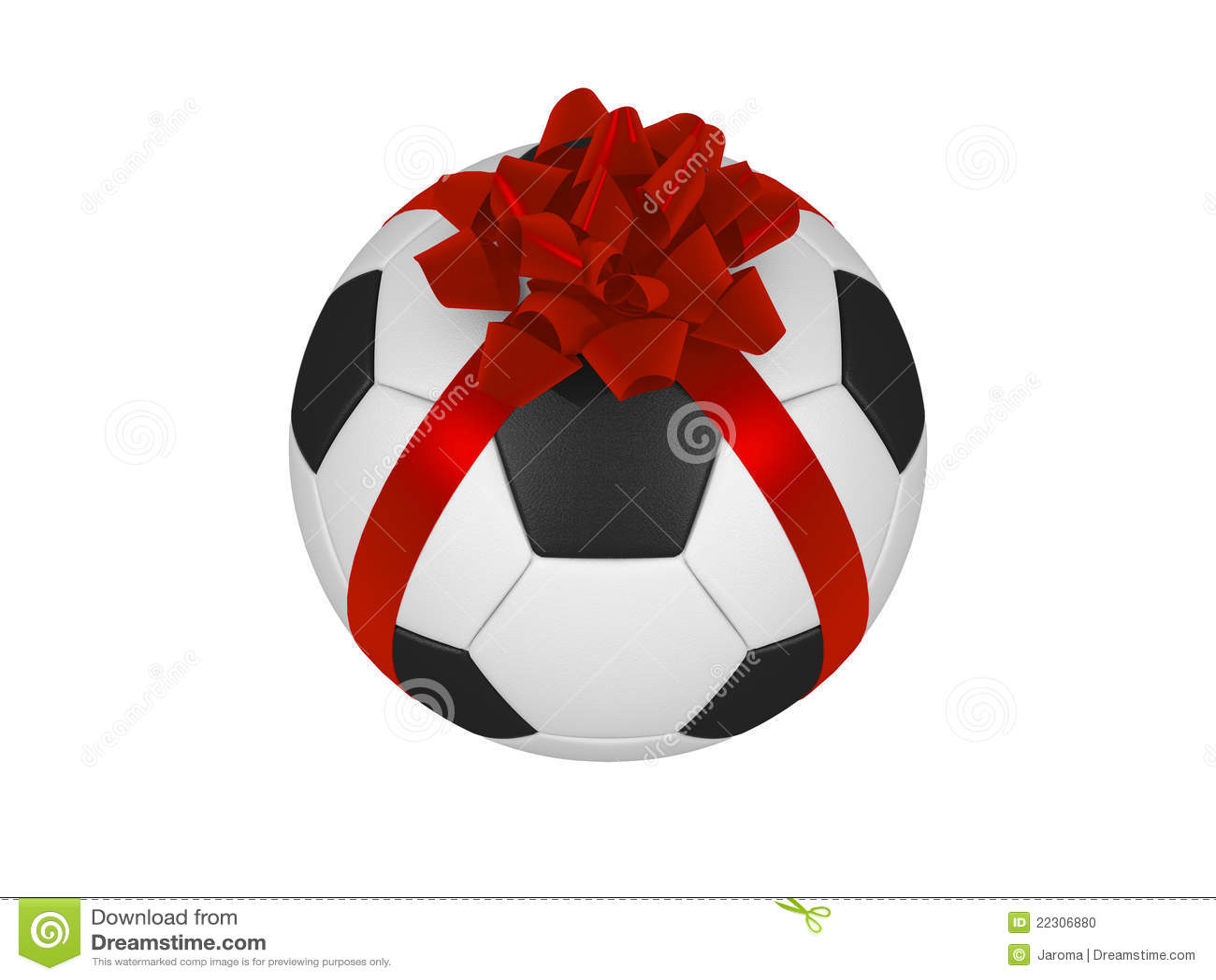 De footbal bal van het voetbal met het rode lint van kerstmis stock illustratie afbeelding - Sterke witte werpen en de bal ...