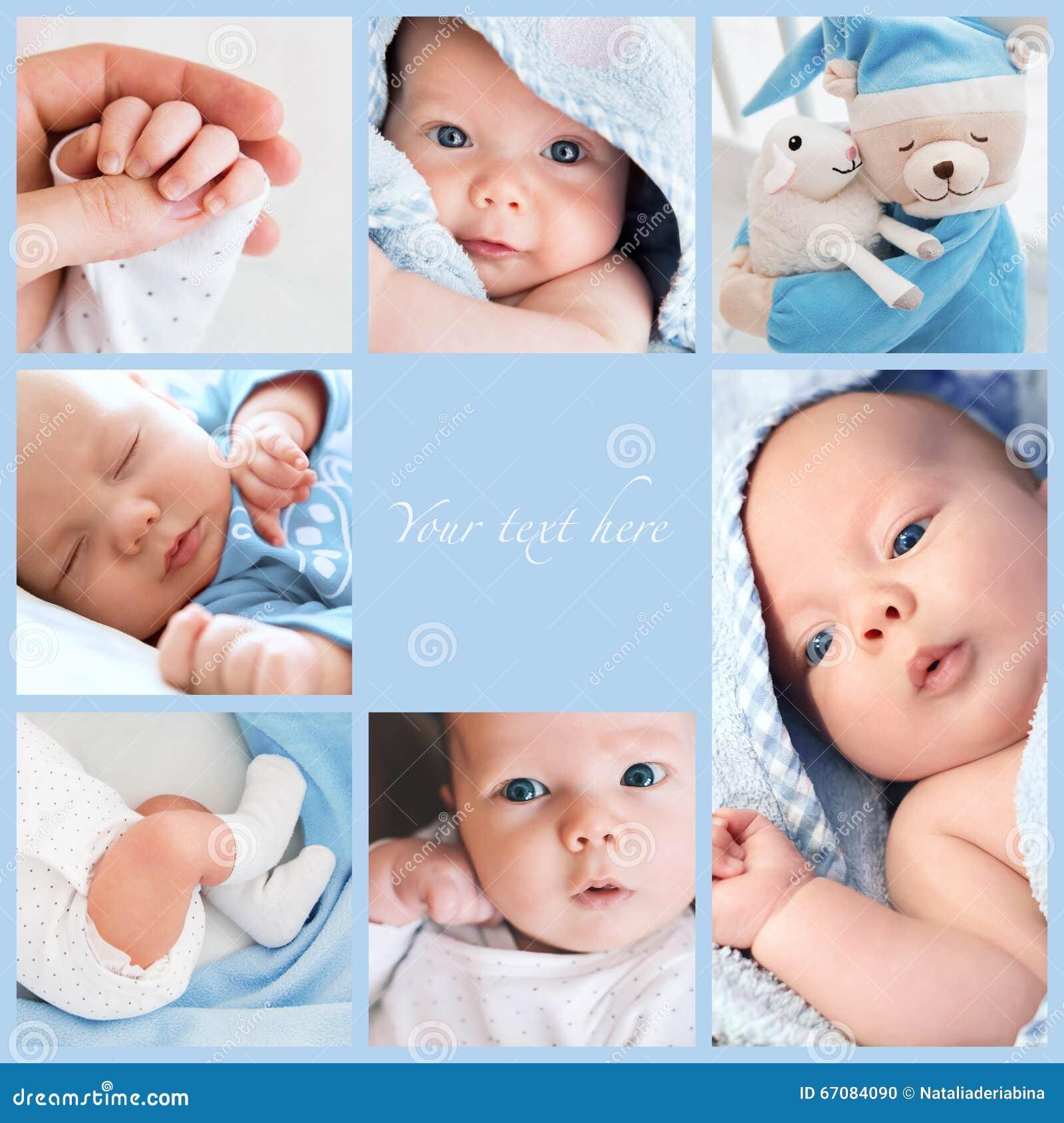 De foto s van de collage pasgeboren baby