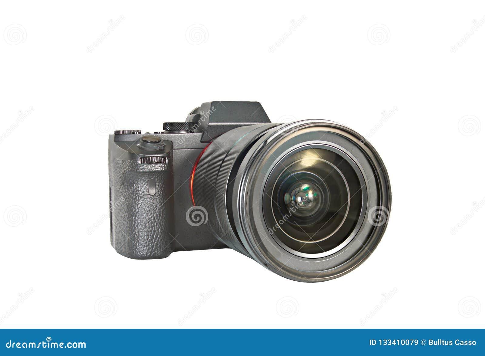 De foto van camera isoleert op witte achtergrond