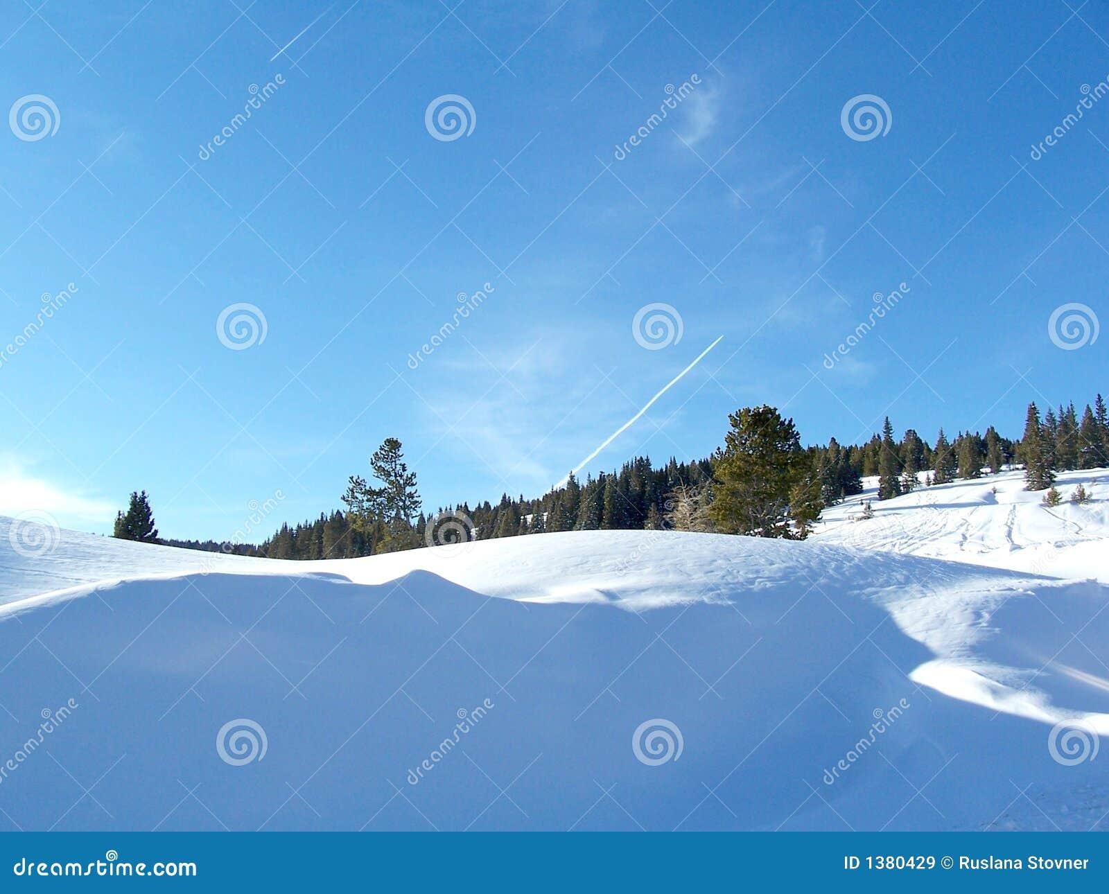 De Foto van de voorraad van het Landschap van de Winter van de Pas van Colorado Vail