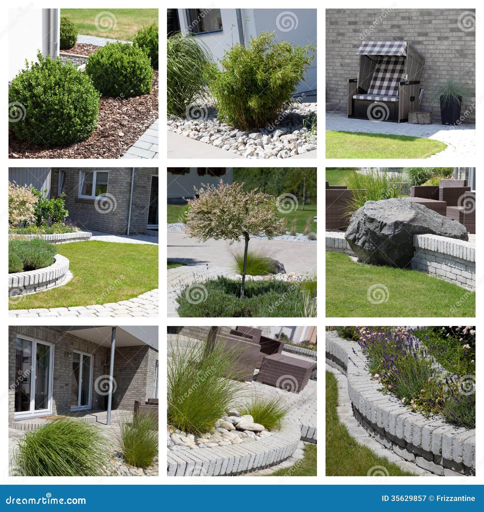 De fotocollage van het tuinontwerp stock afbeelding for Sample garden designs pictures