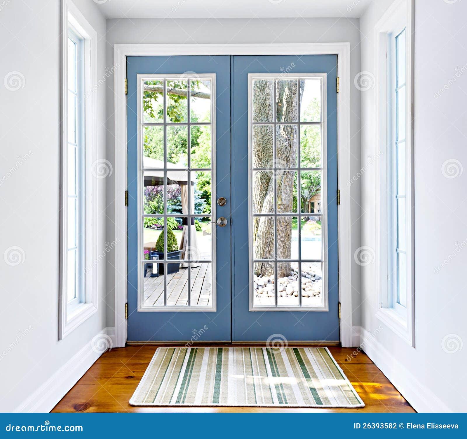 De franse deur van het terrasglas stock fotografie for Moustiquaire rideau pour porte fenetre