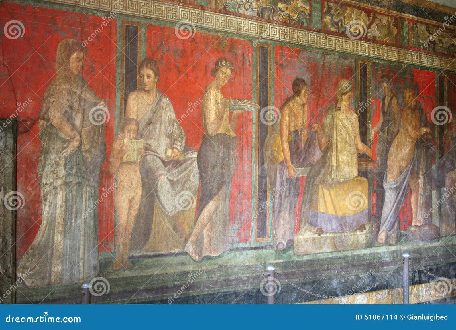 De fresko van Pompei, Napels (Italië)