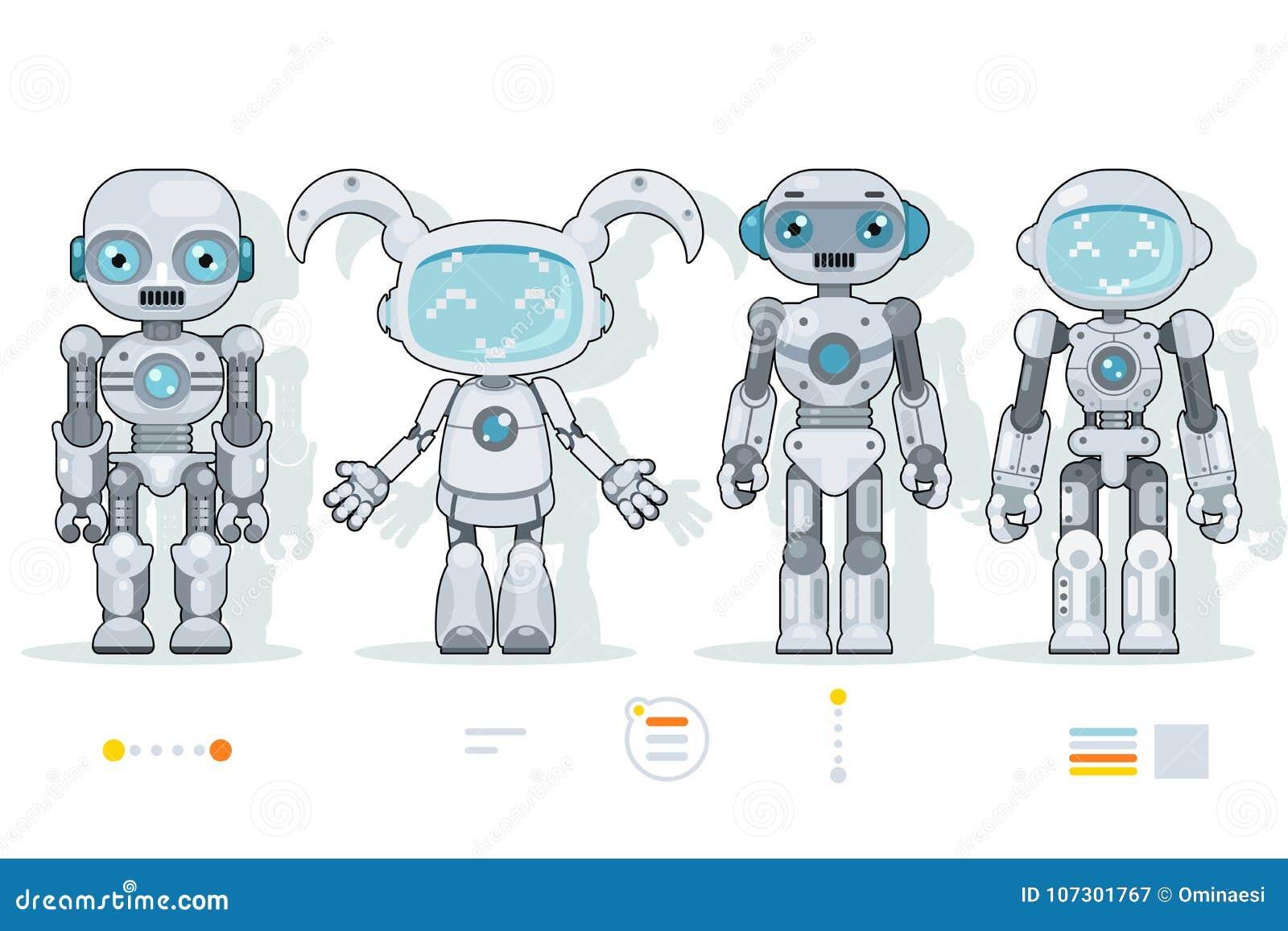 De futuristische androïde van de de kunstmatige intelligentieinformatie van robotkarakters pictogrammen van het de interface vlak