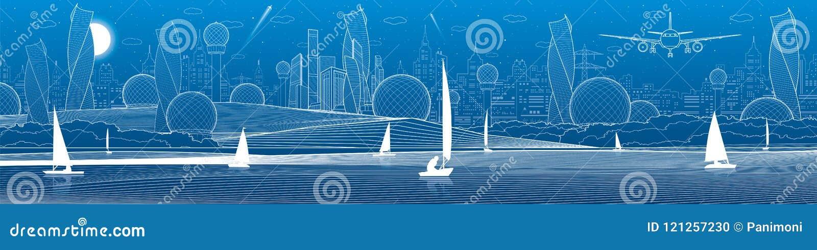 De futuristische panoramische illustratie van de Stadsinfrastructuur Vliegtuigvlieg Nachtstad bij achtergrond Varende jachten op