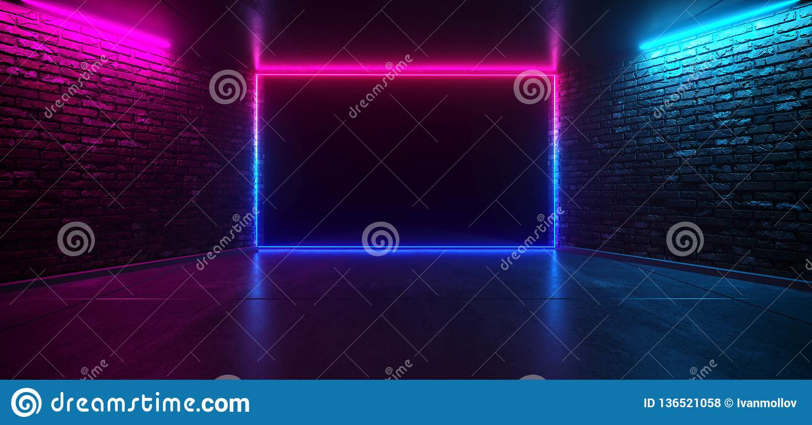 De futuristische Zaal van het het Neon Gloeiende Purpere Blauwe Roze Retro Elegante Lege Stadium van de Dansclub met de Weerspieg