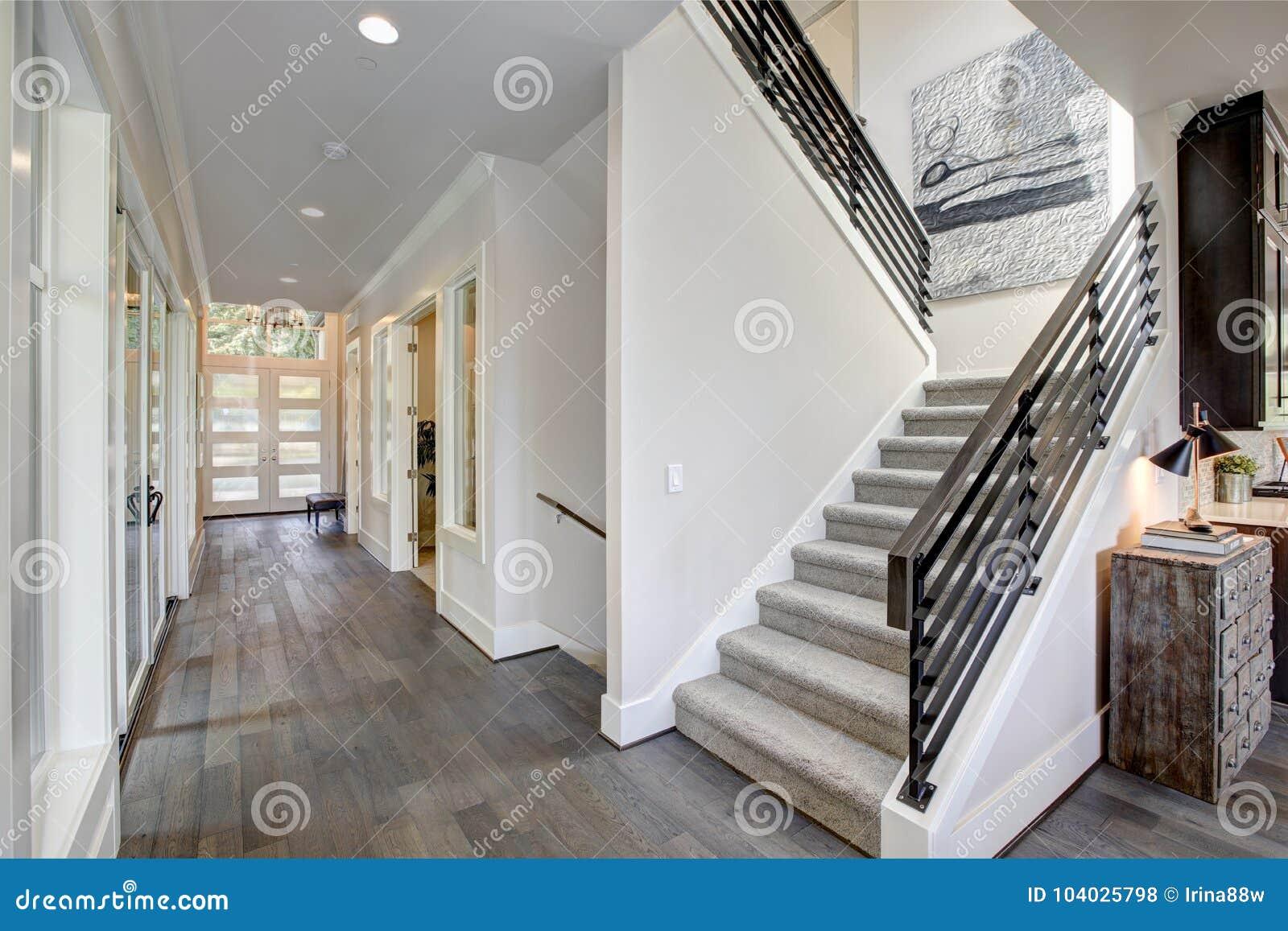 De gang kenmerkt een trap met grijze tapijtagent stock foto
