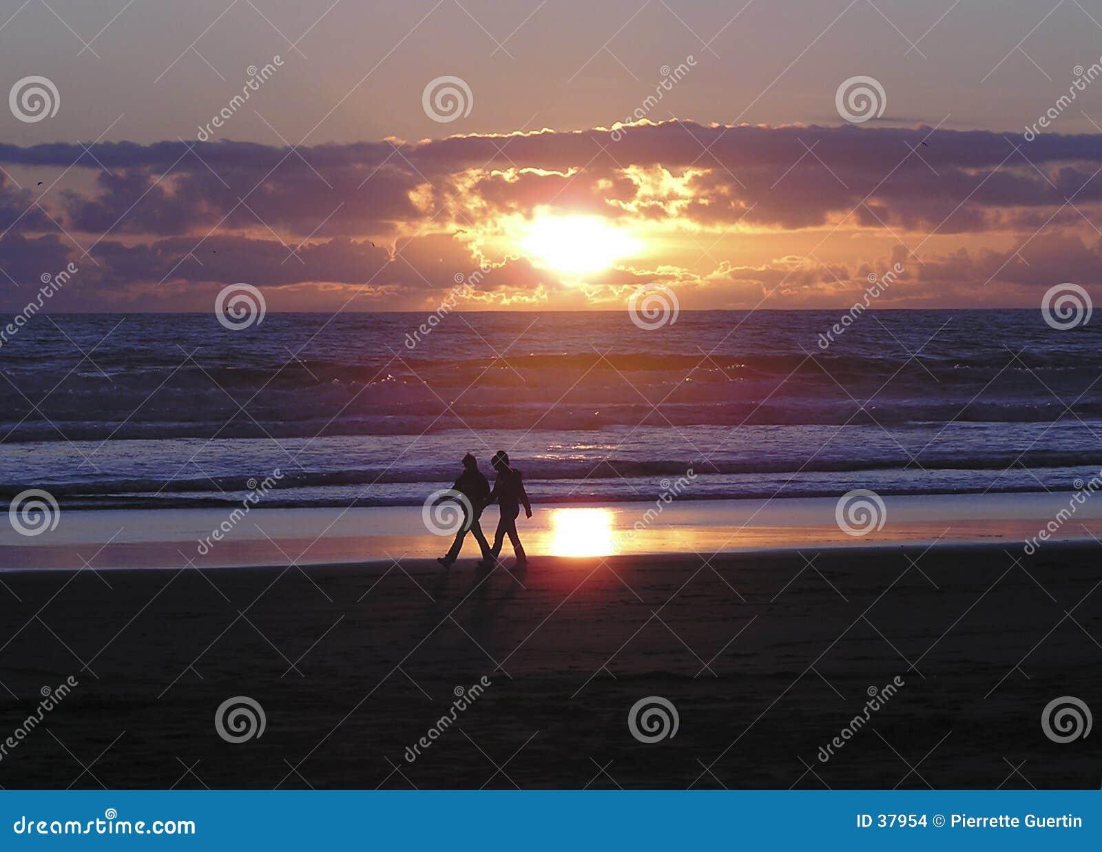 De gang van de minnaar van het strand