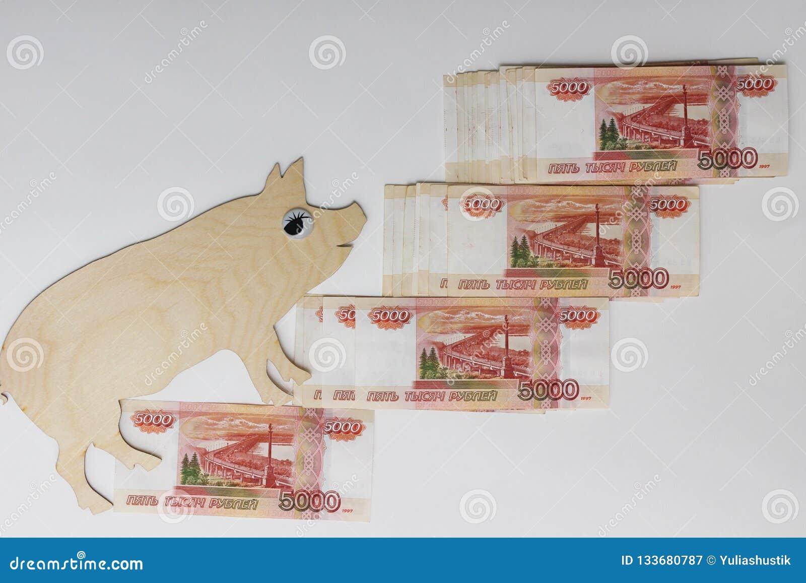 De gangen van het symbool 2019 varken op Russische bankbiljetten 5000 roebels
