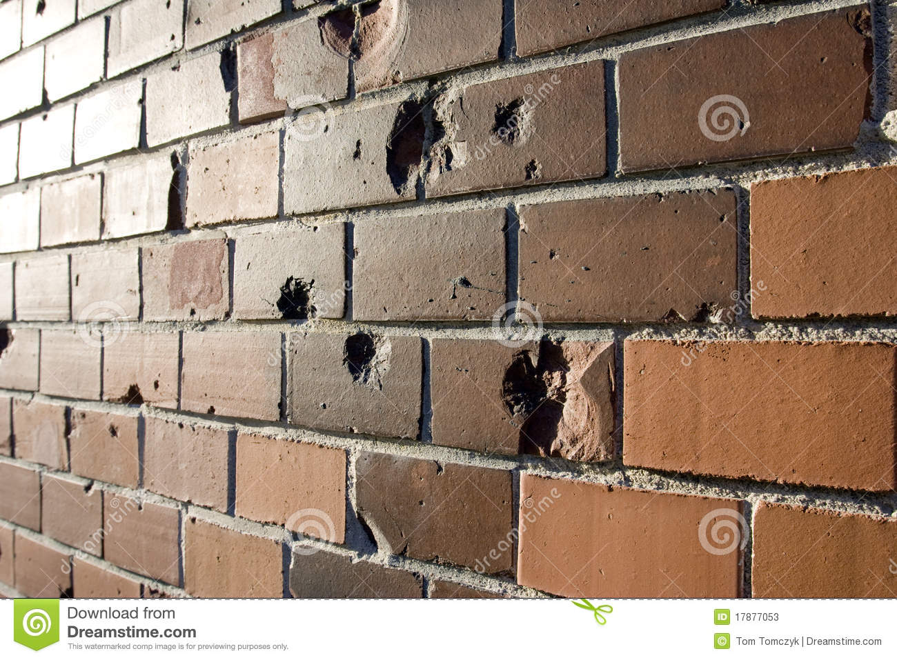 Stock foto: bullet holes in brick wall. afbeelding: