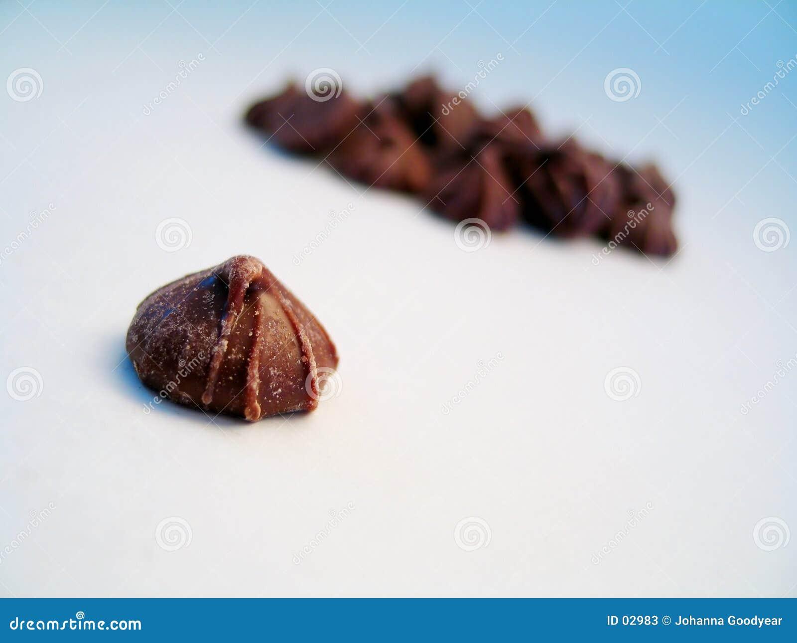 De geïsoleerde knop van de chocolade,