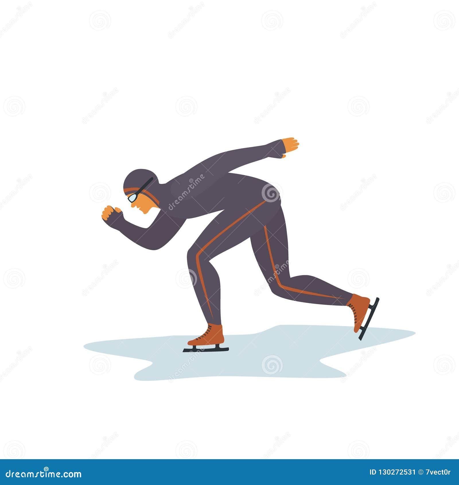 De geïsoleerde vector grafische illustratie van de sportmansnelheid het schaatsen