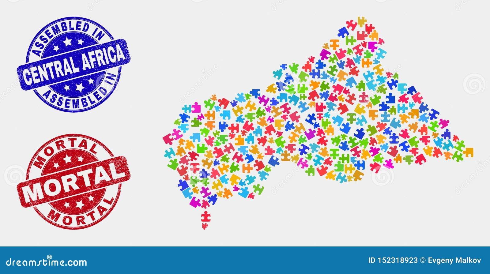 De Geassembleerde Kaart van de bundelcentraalafrikaanse republiek en Nood en Dodelijke Zegelverbindingen