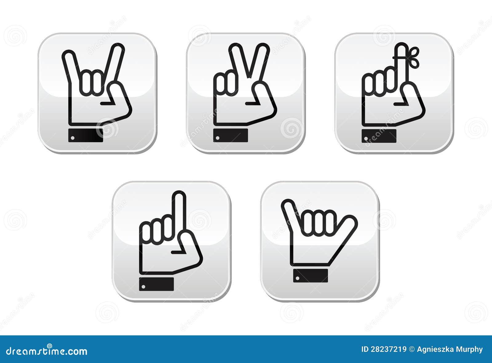De gebaren de signalen en de tekens van de hand overwinning rots puntknopen stock - Moderne overwinning ...
