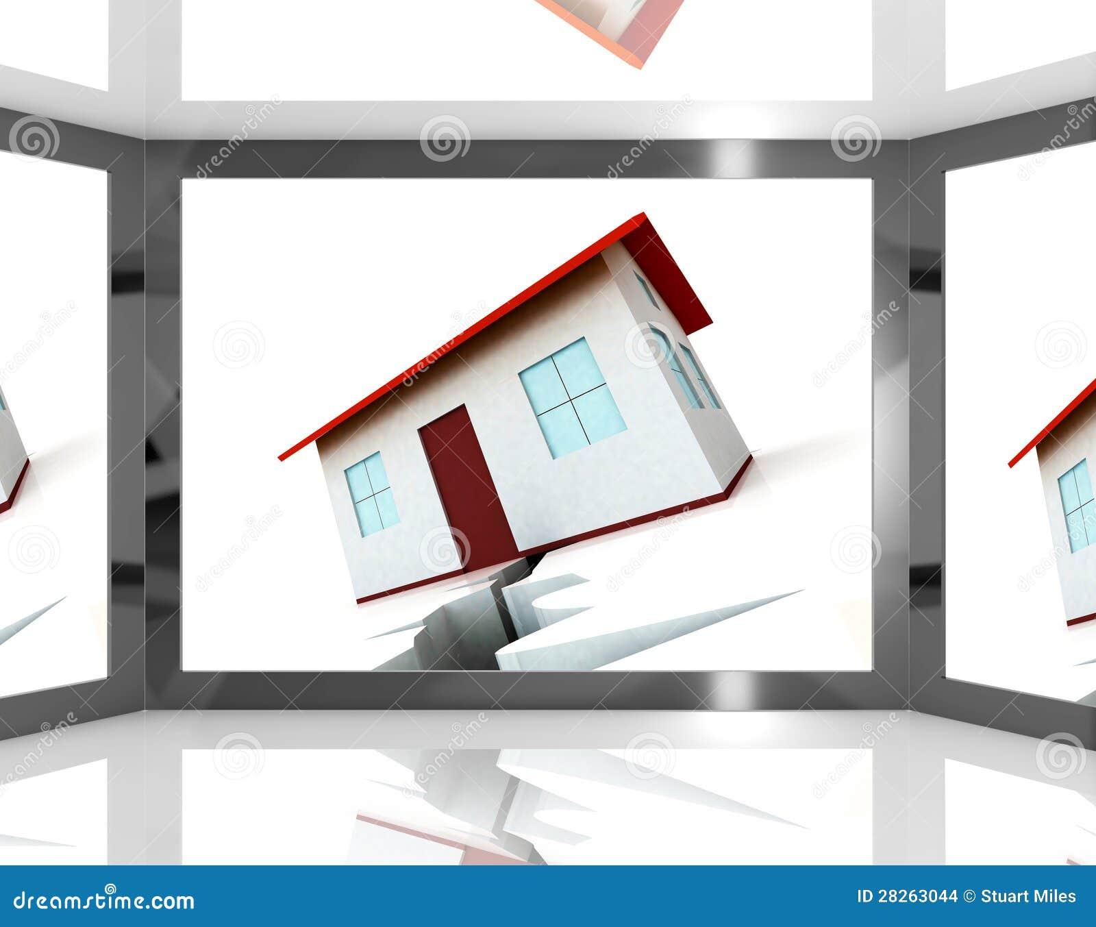 De gebarsten stichtingen van het huis op het scherm dat de bouwschade toont stock afbeeldingen - Scherm huis ...