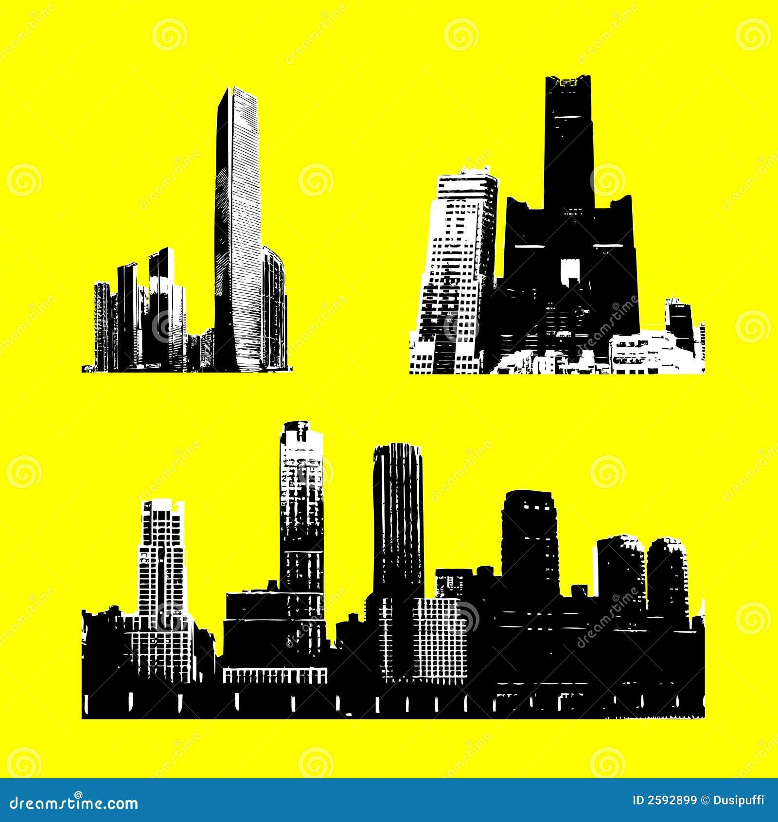 De gebouwen van het silhouet