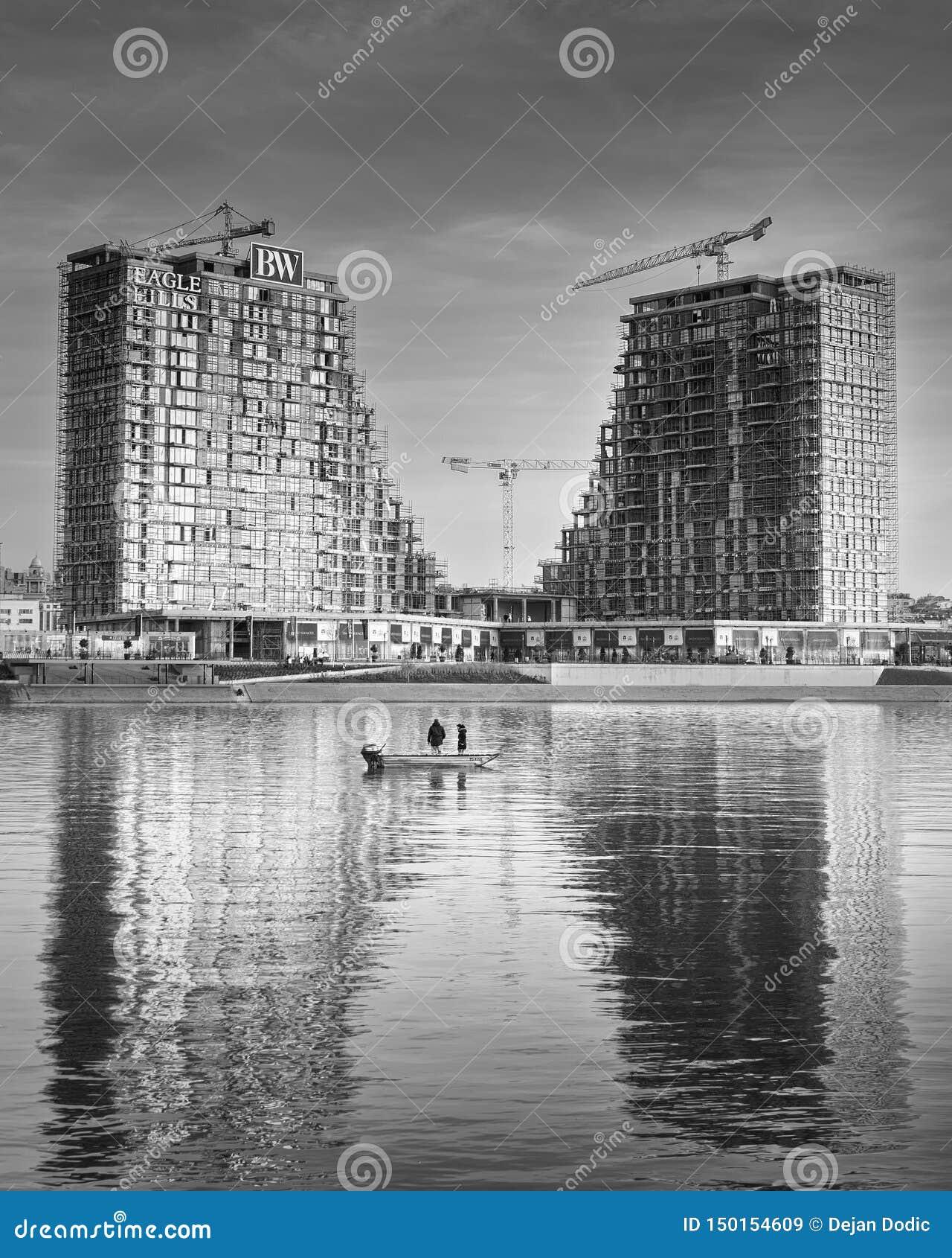 De gebouwen van de Waterkant van Belgrado