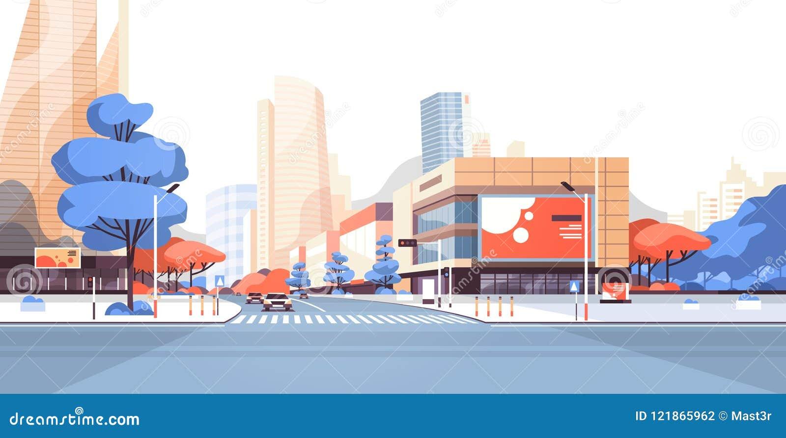 De gebouwen van de de wegwolkenkrabber van de stadsstraat bekijken modern cityscape aanplakbord van de binnenstad adverterend hor
