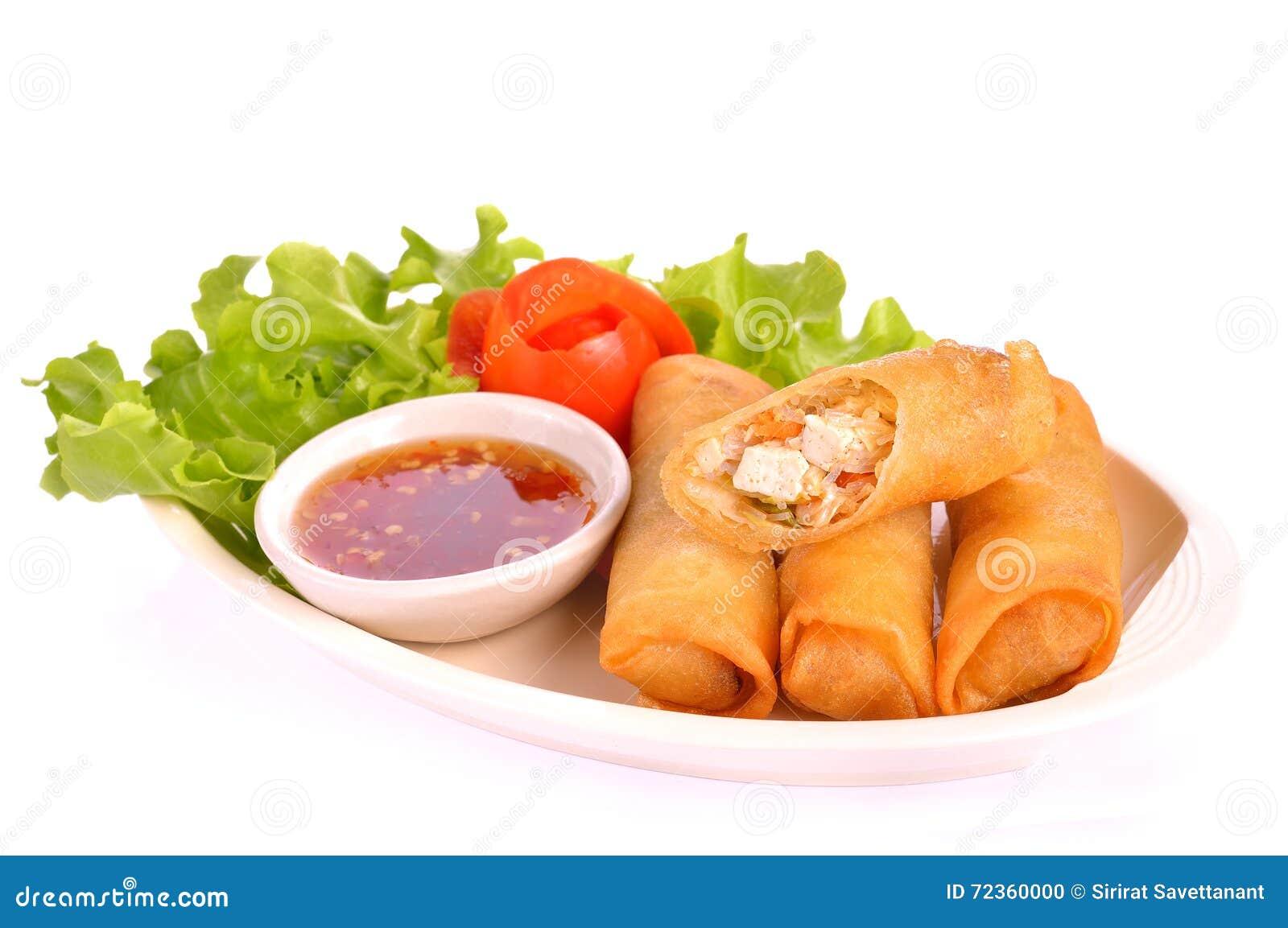 De gebraden Chinese Traditionele Lente rolt voedsel