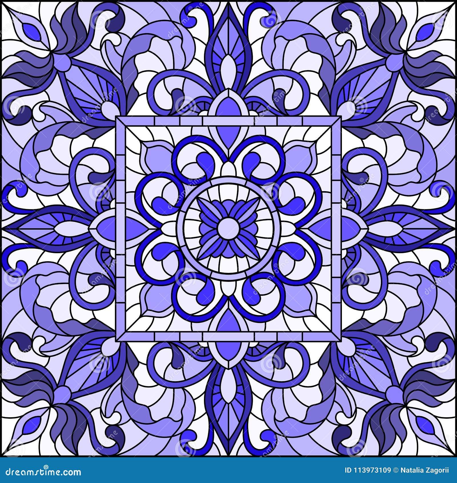 De gebrandschilderd glasillustratie met samenvatting wervelt en gaat op een lichte achtergrond, vierkant beeld, gammablauw weg