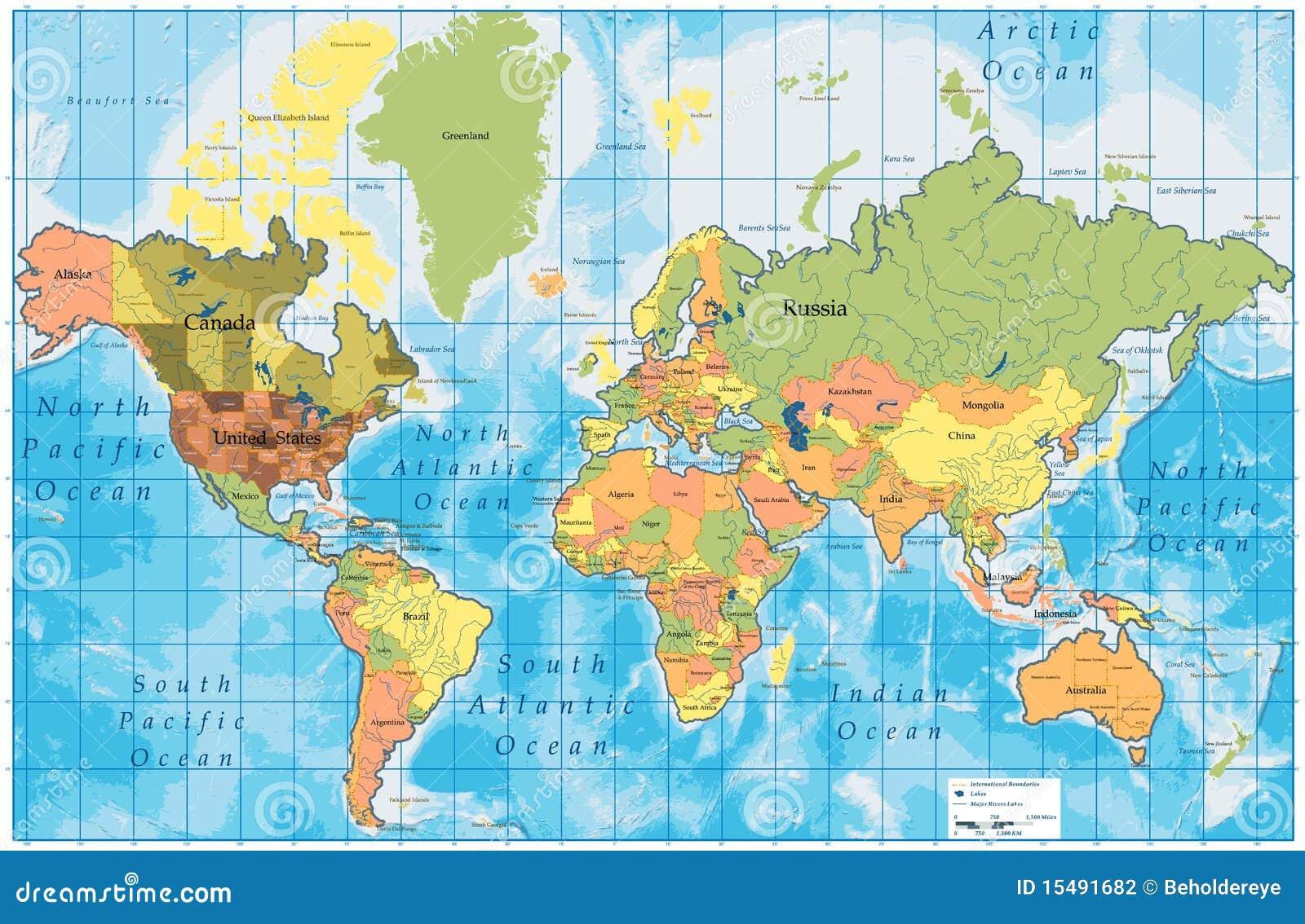 De gedetailleerde kaart van de wereld met alle namen van landen vector illustratie afbeelding - Vloerlamp van de wereld ...