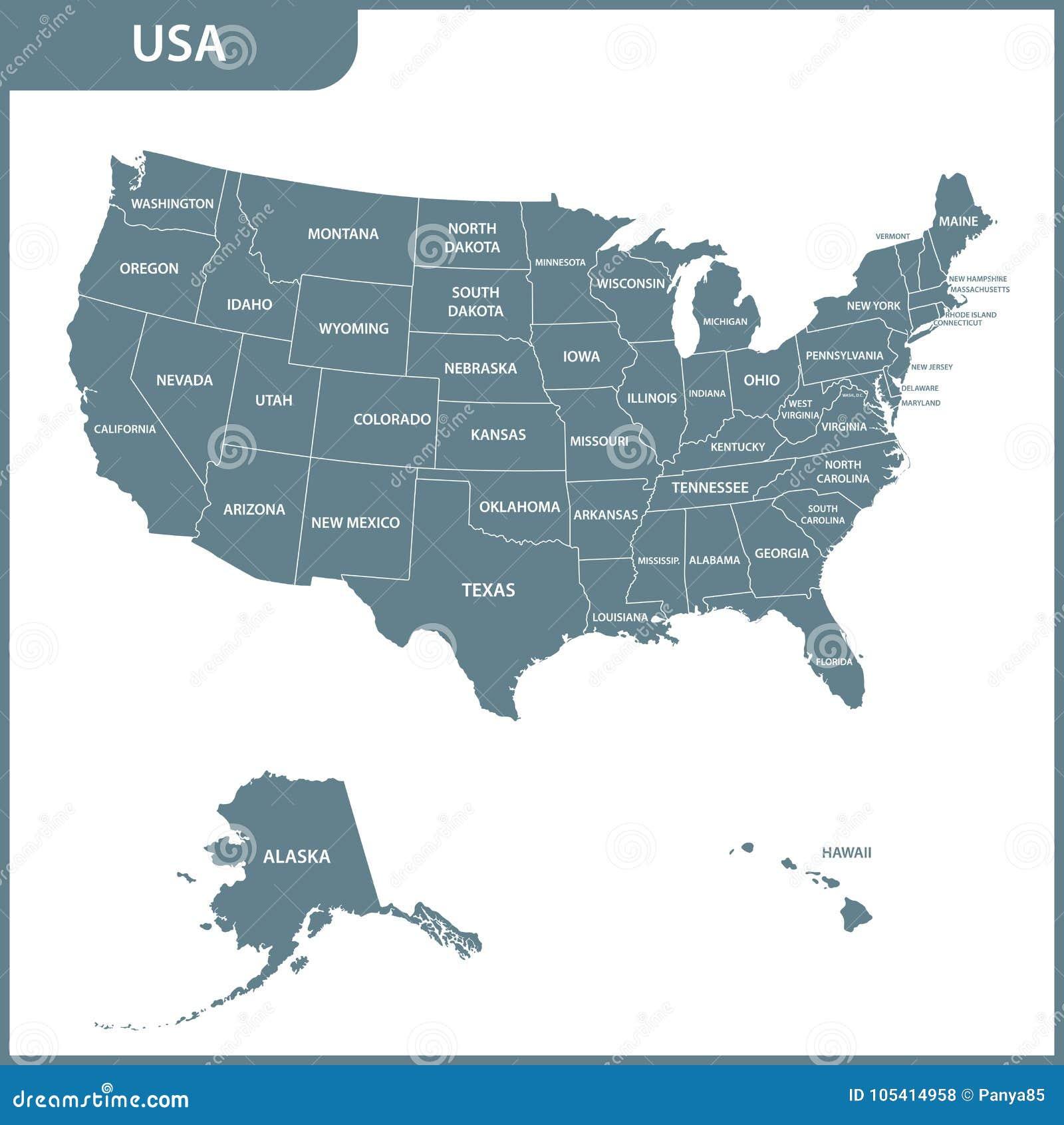 De gedetailleerde kaart van de V.S. met gebieden De Verenigde Staten van Amerika