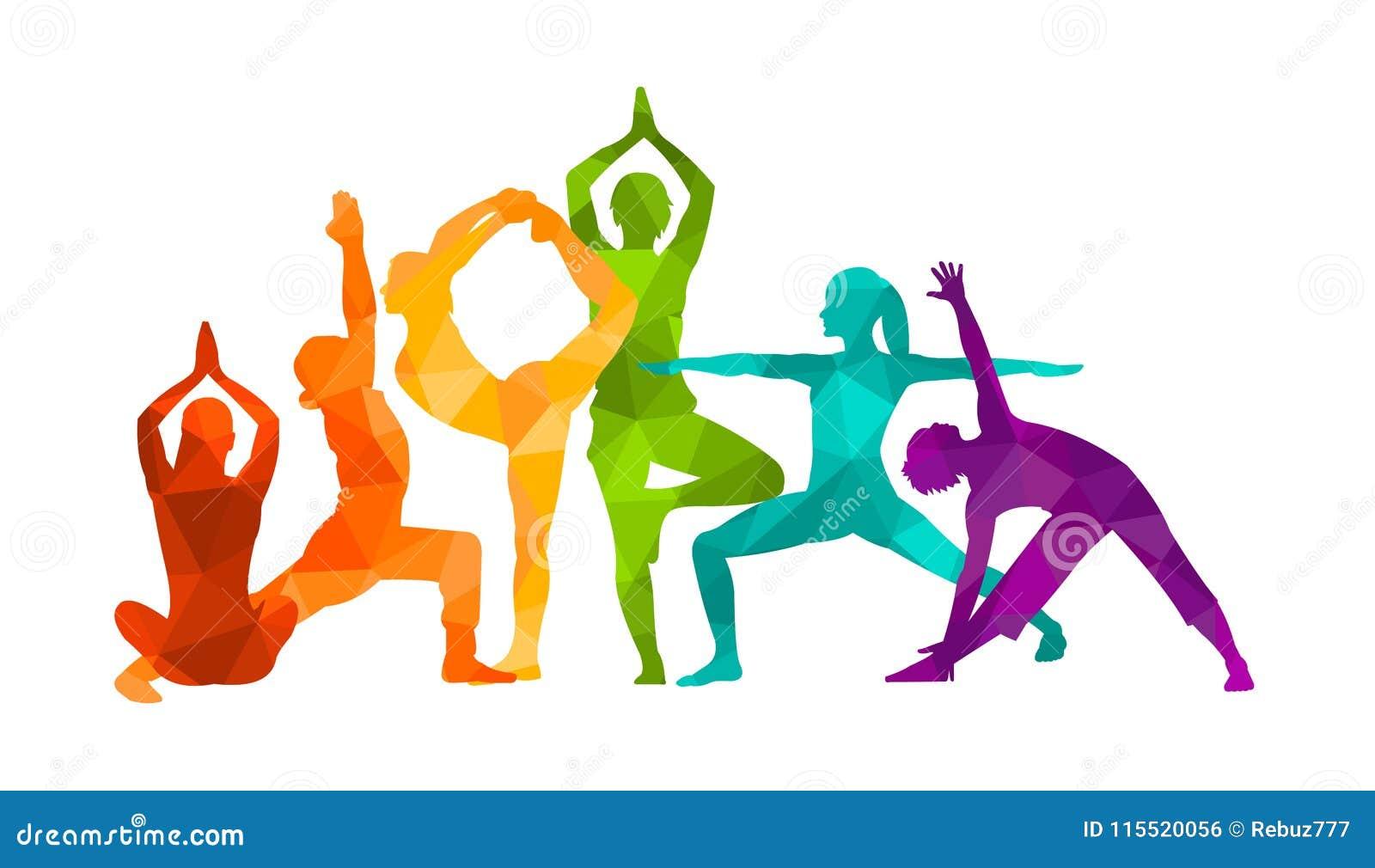 De gedetailleerde kleurrijke vectorillustratie van de silhouetyoga Het concept van de geschiktheid gymnastiek AerobicsSport