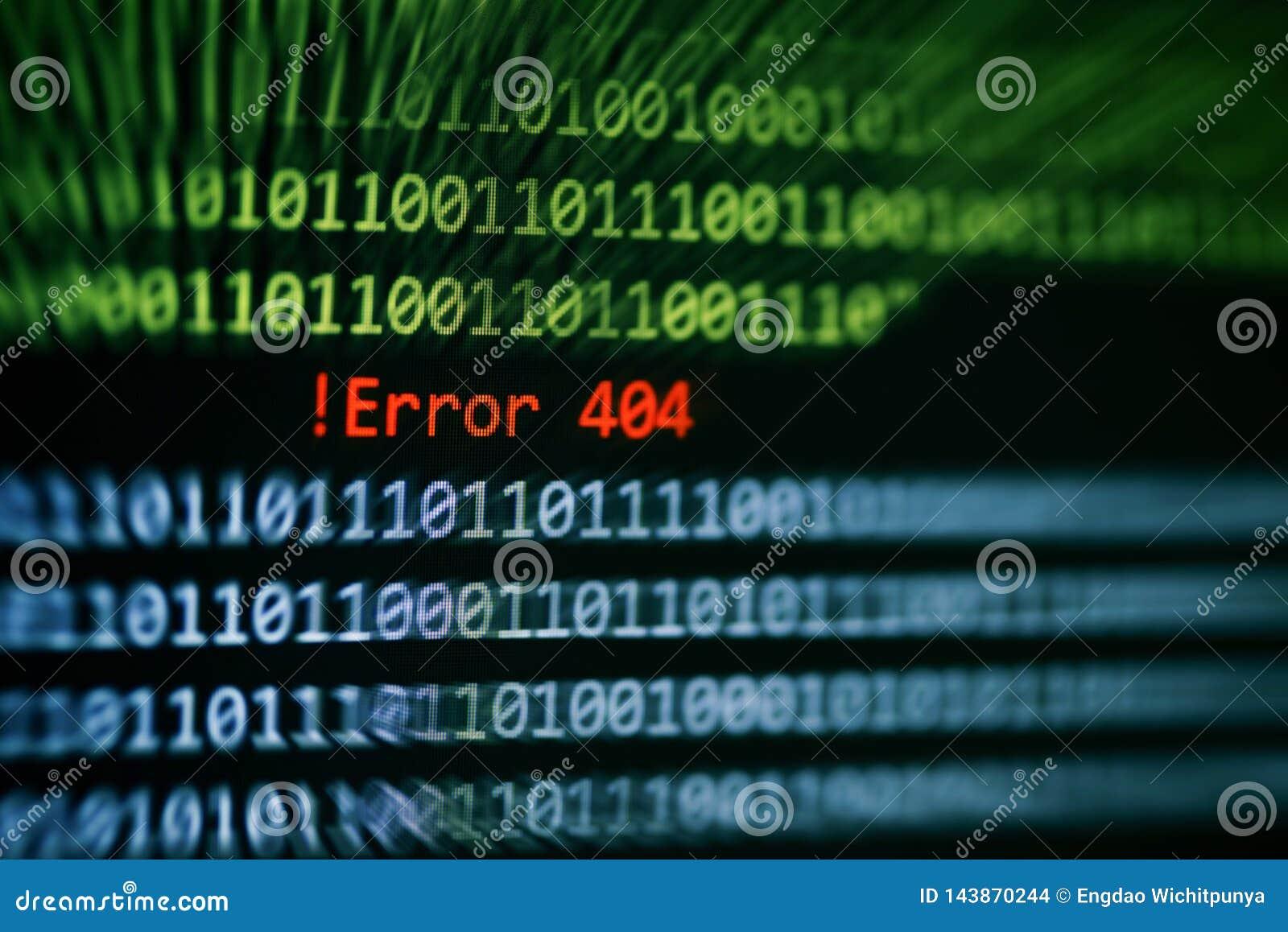 De gegevensalarm van het technologie binair codenummer! Fout 404 bericht op het vertoningsscherm/van het het systeemprobleem van