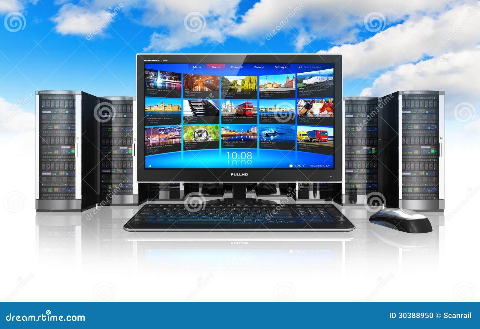 De gegevensverwerking en de telecommunicatie van de wolk concept