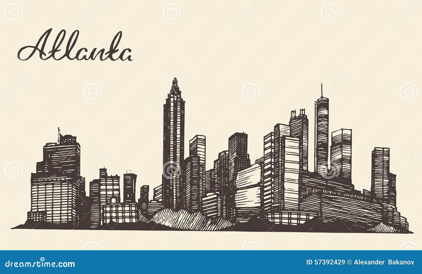De gegraveerde hand getrokken schets van Atlanta horizon