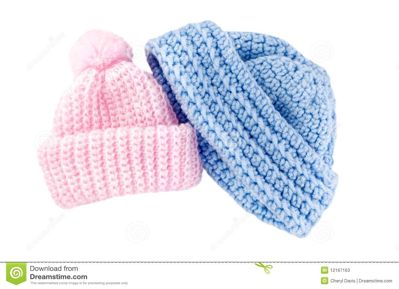 De gehaakte hoeden van de baby voor jongen en meisje stock foto 39 s afbeelding 12167163 - Lay outs ruimte van de jongen ...