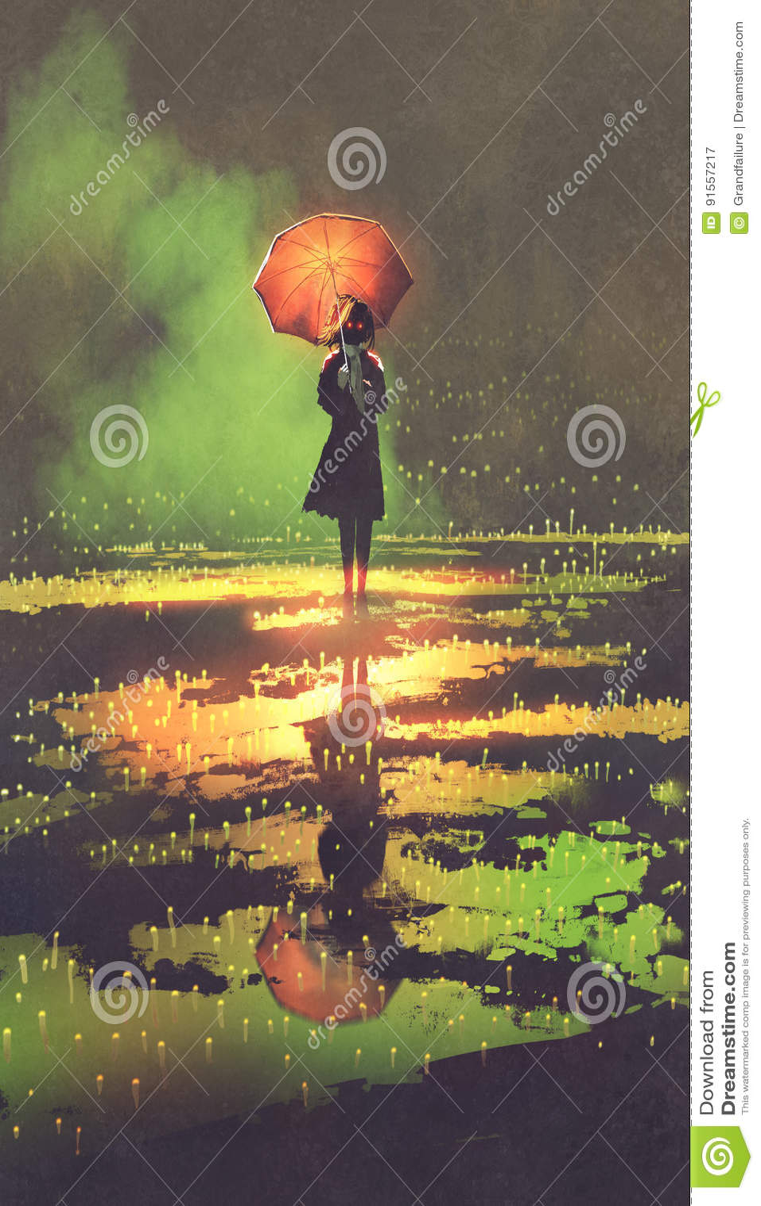 De geheimzinnige vrouw houdt paraplu zich bevindt in een vulklei