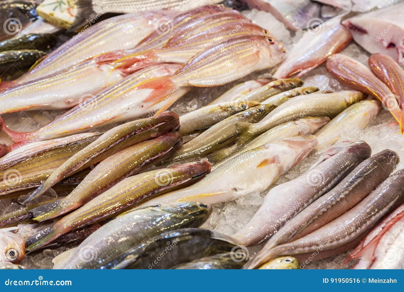 De gehele verse vissen worden aangeboden in de vissenmarkt