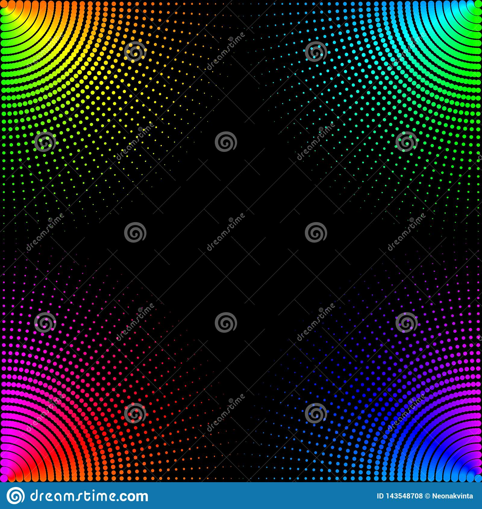 De gekleurde cirkels, ballen op een zwarte achtergrond is ge?soleerd Modieuze Vectorillustratie voor Webontwerp